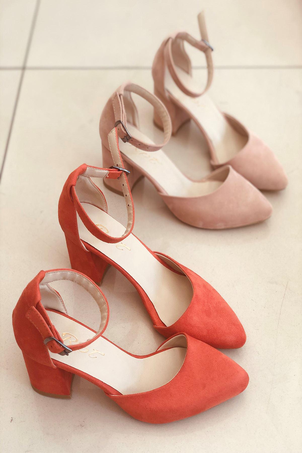 Y102 Turuncu Süet Topuklu Ayakkabı