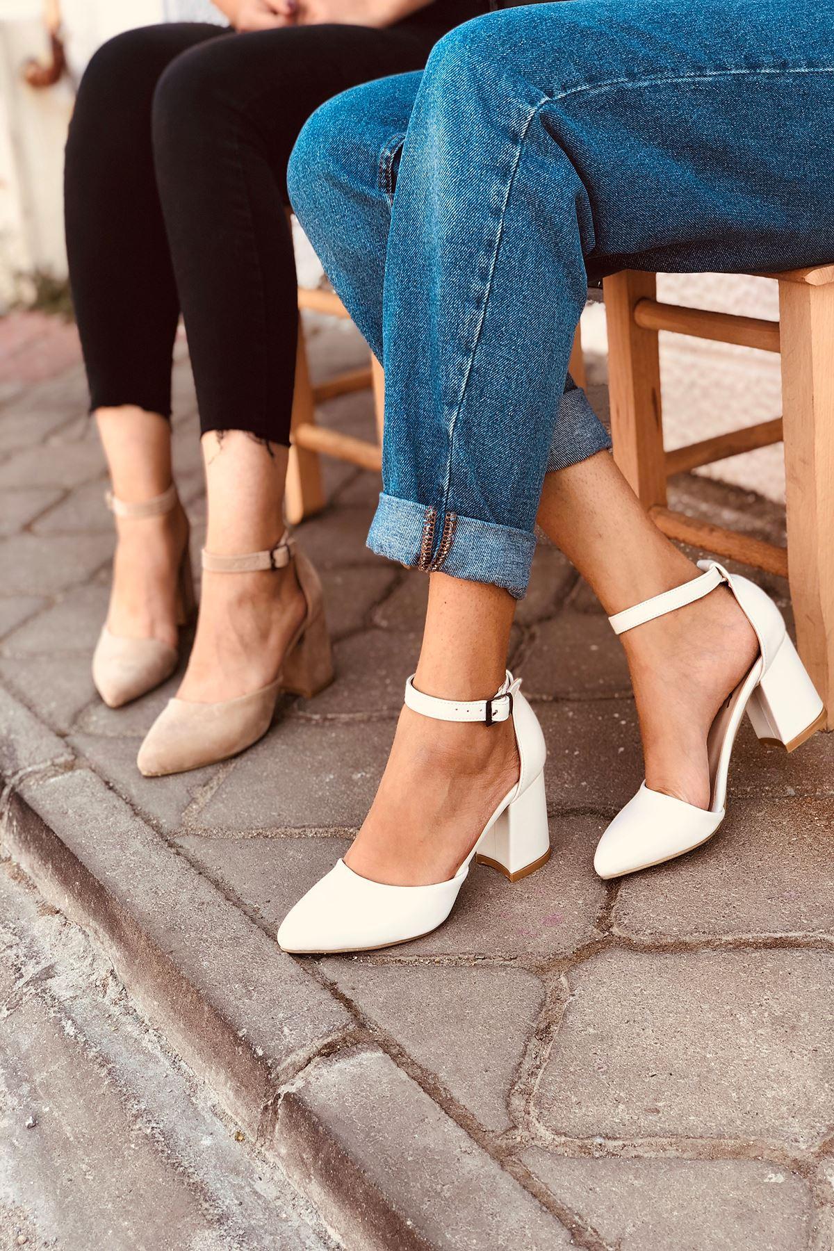 Y102 Beyaz Deri Topuklu Ayakkabı