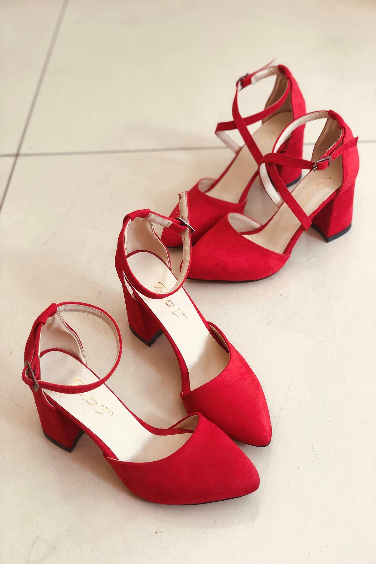 Y102 Kırmızı Süet Topuklu Ayakkabı
