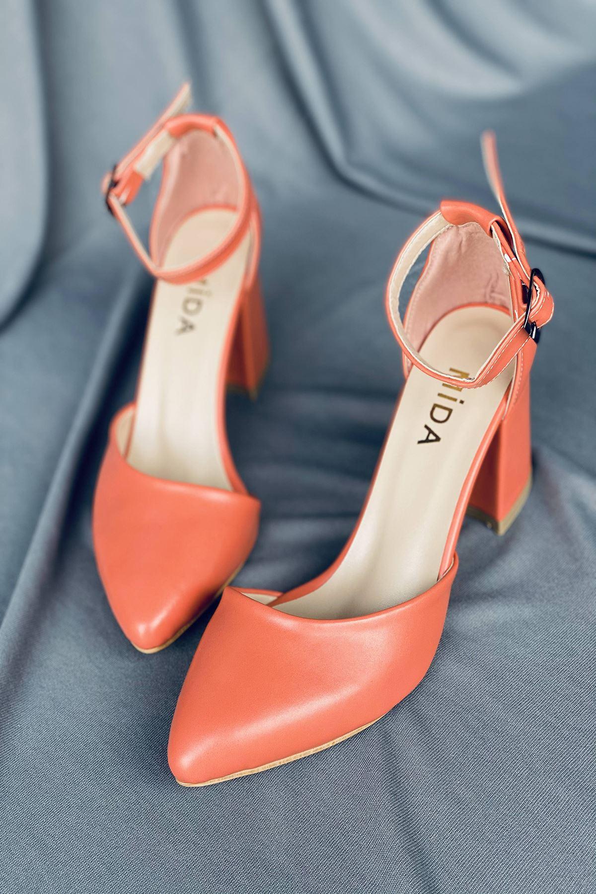 Y102 Turuncu Deri Topuklu Ayakkabı