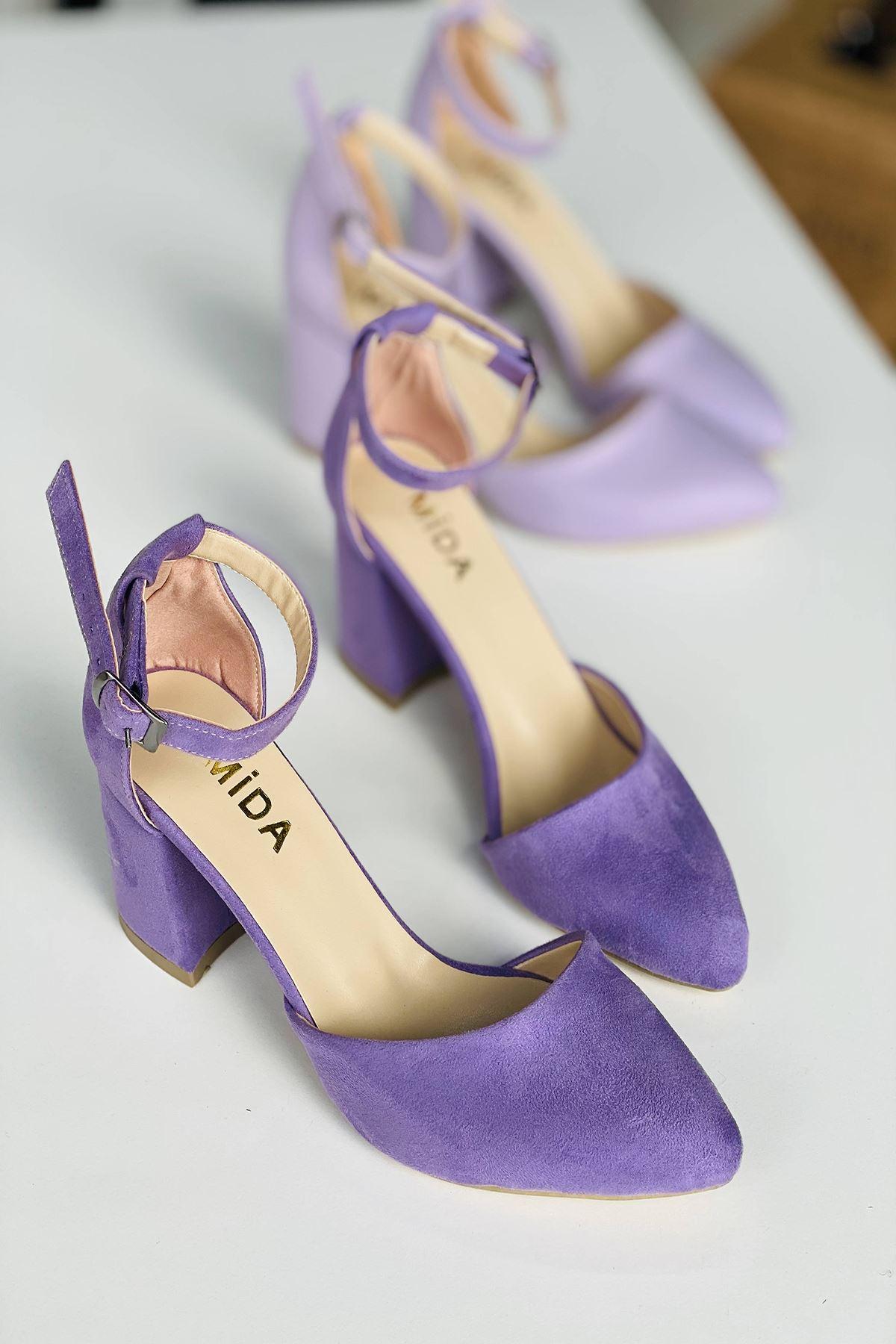 Y102 Lila Süet Topuklu Ayakkabı