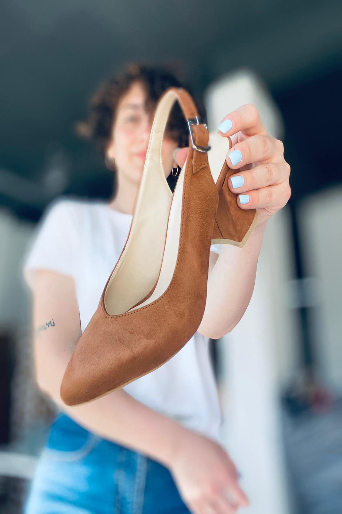 Y101 Taba Süet Topuklu Ayakkabı