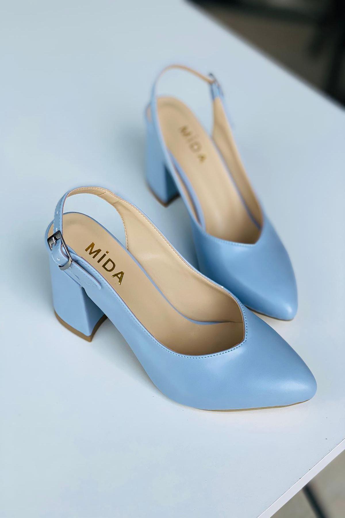Y101 Bebe Mavi Deri Topuklu Ayakkabı