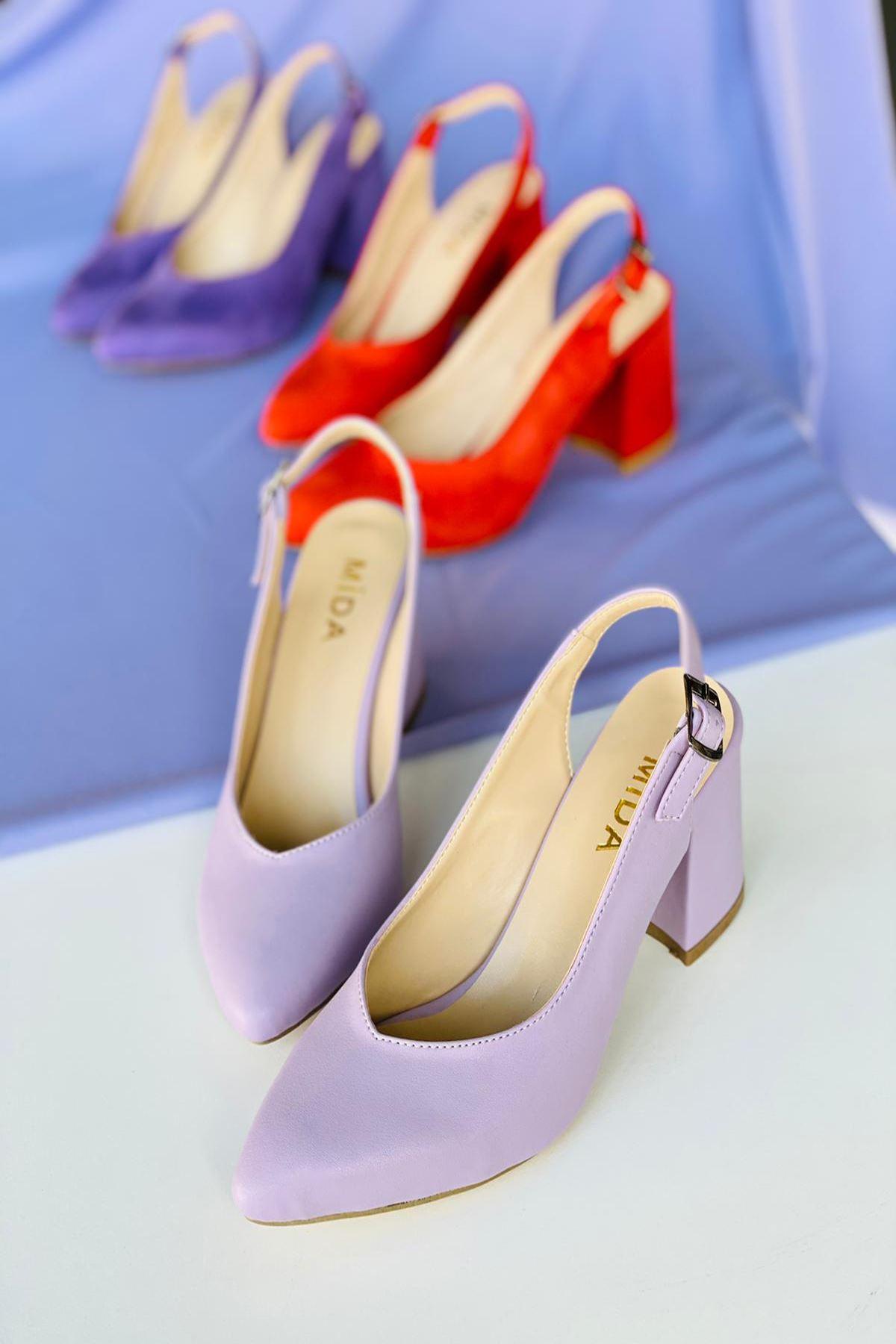 Y101 Lila Deri Topuklu Ayakkabı