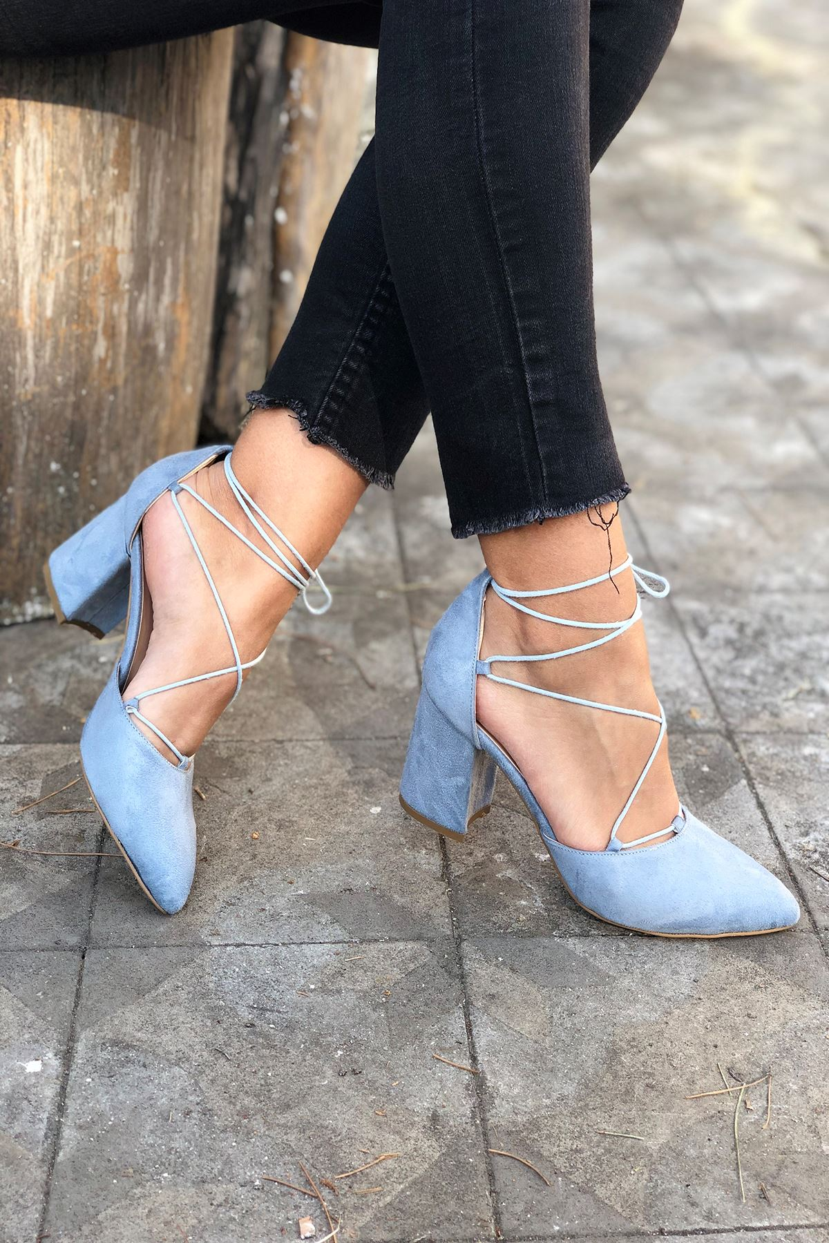 Y103 Bebe Mavi Süet Topuklu Ayakkabı