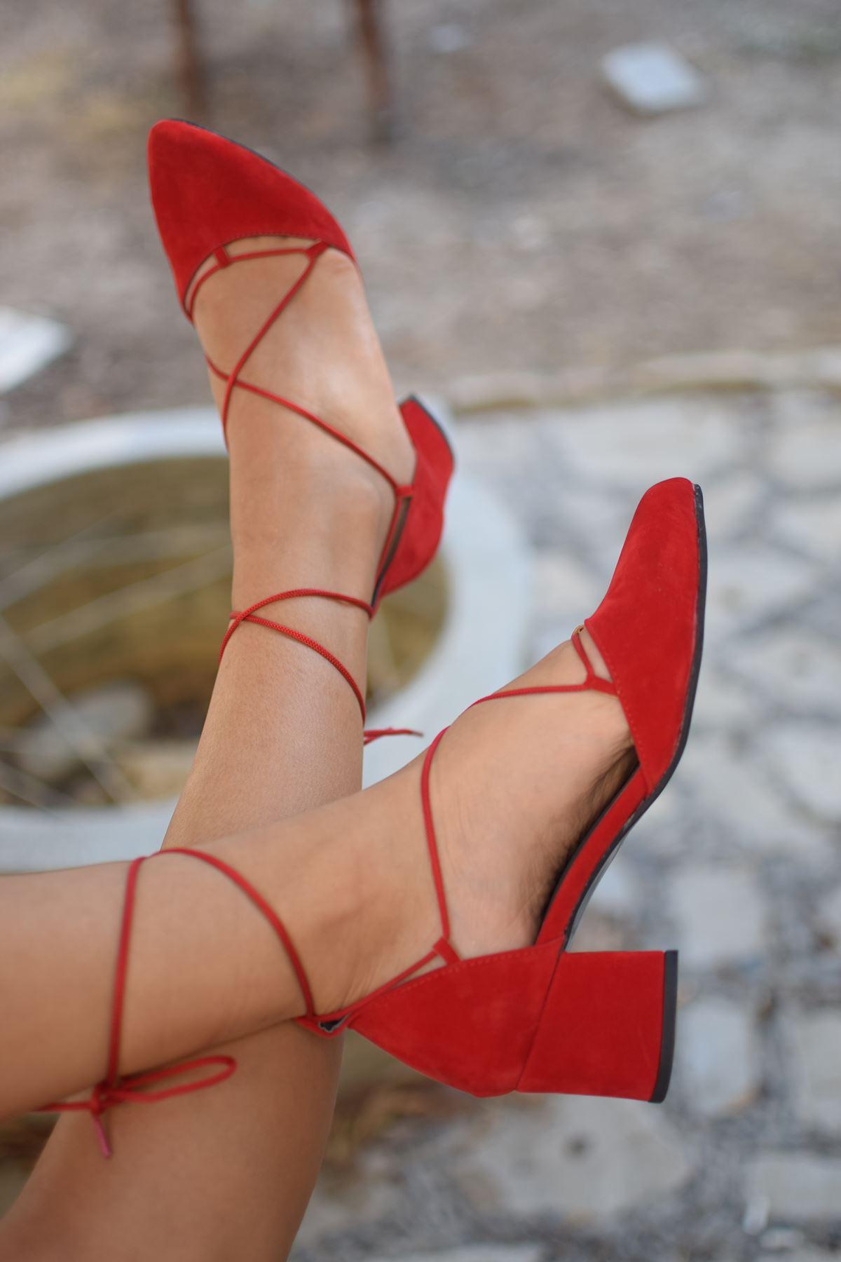 Y103 Kırmızı Süet Topuklu Ayakkabı