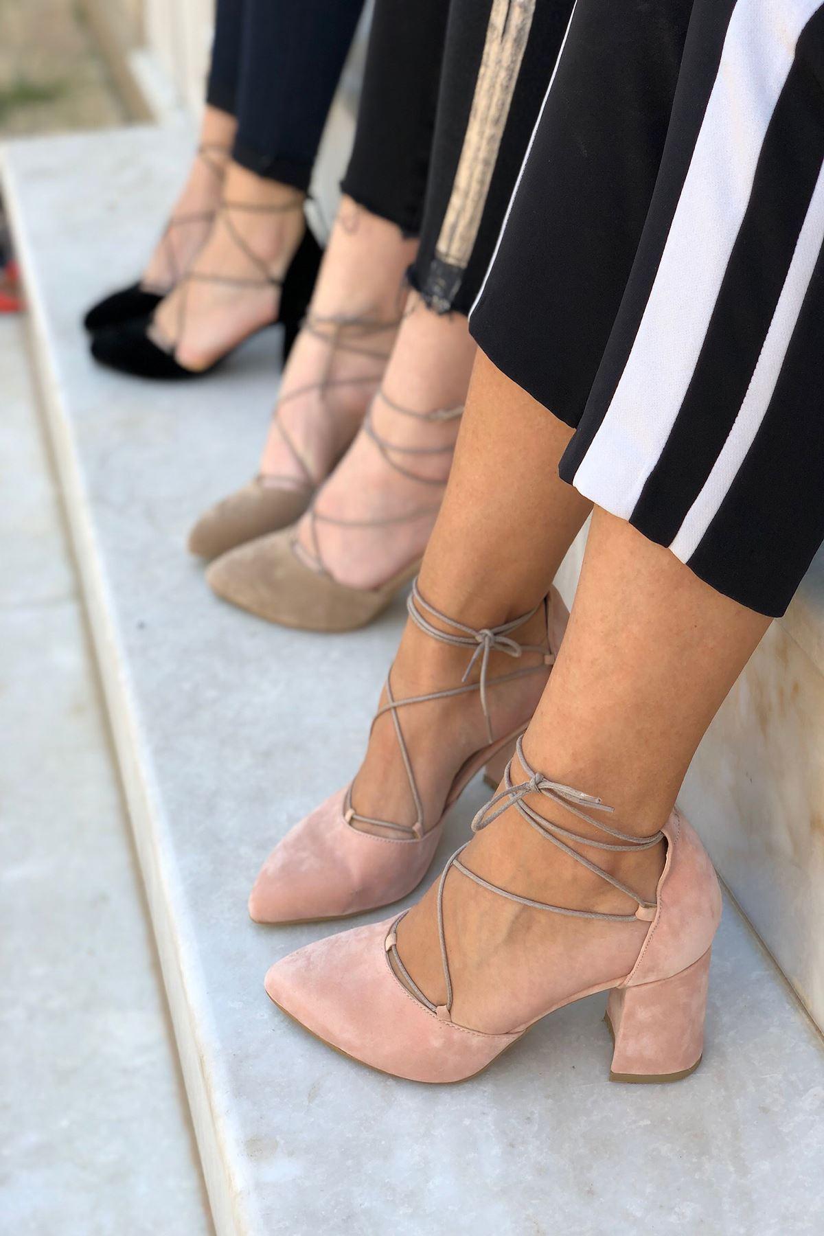 Y103 Pudra Suet Topuklu Ayakkabı