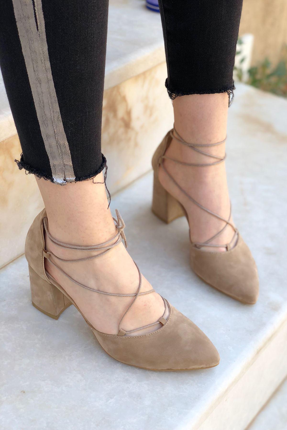 Y103 Ten Süet Topuklu Ayakkabı