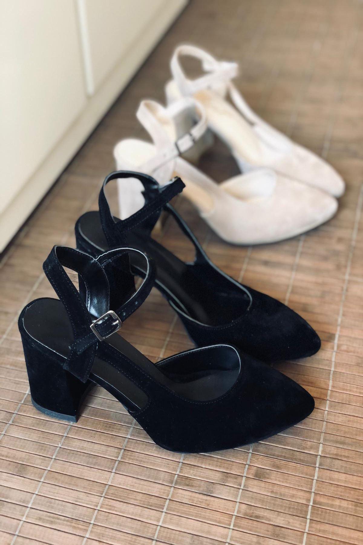 Y104 Siyah Süet Topuklu Ayakkabı