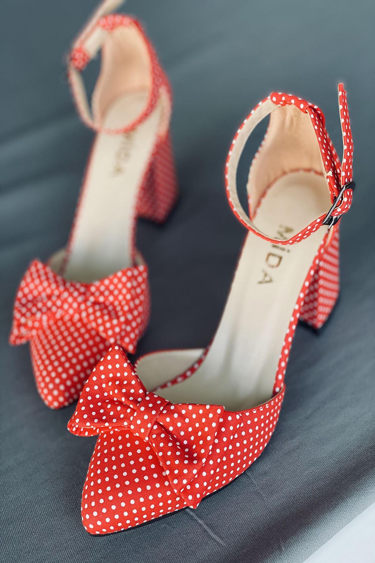 Y106 Kırmızı Puantiye Topuklu Ayakkabı