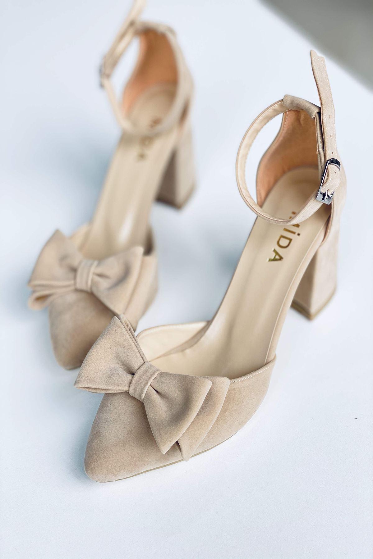 Y107 Ten Süet Topuklu Ayakkabı