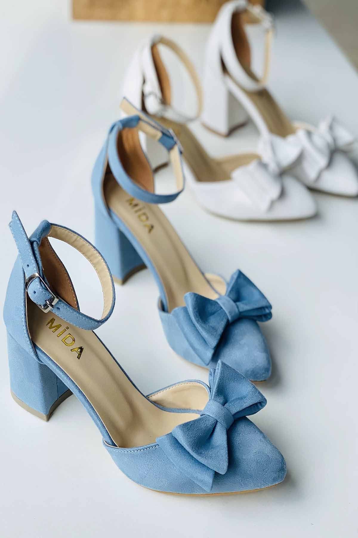 Y107 Bebe Mavi Süet Topuklu Ayakkabı