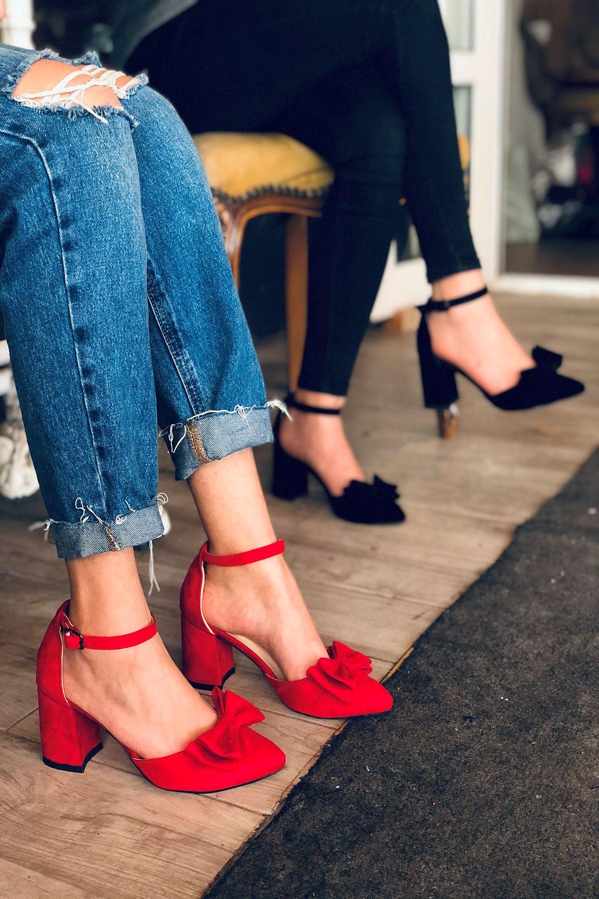 Y107 Kırmızı Süet Topuklu Ayakkabı