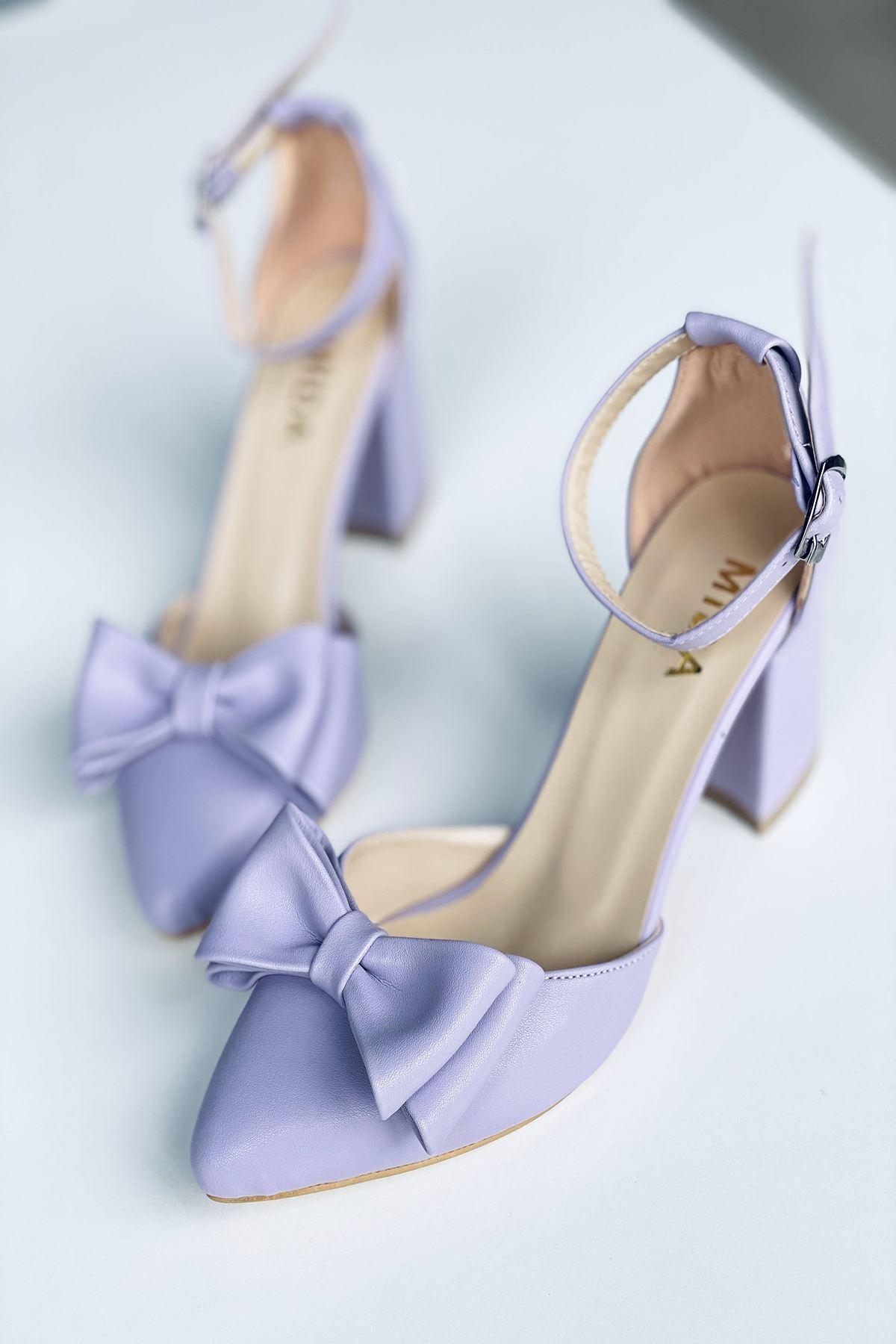 Y107 Lila Deri Topuklu Ayakkabı