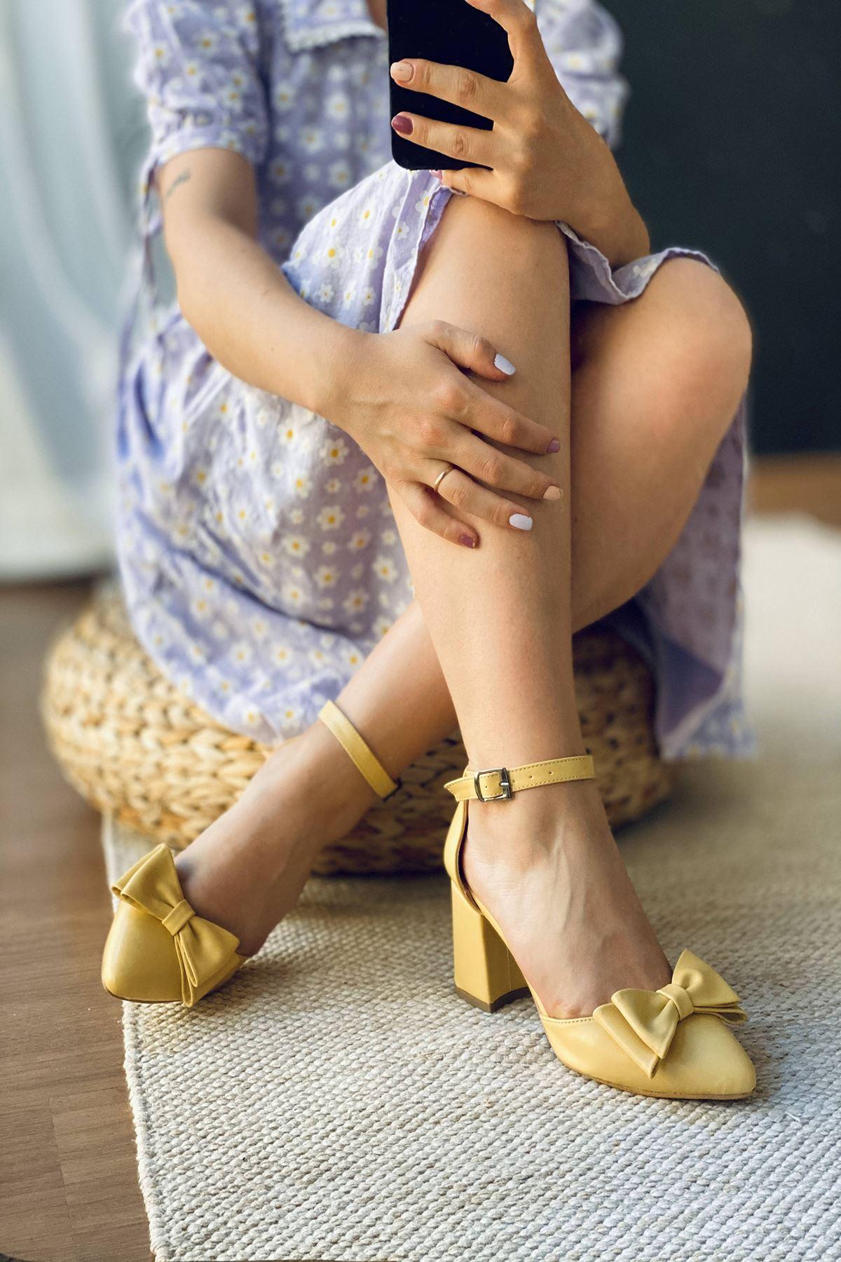 Y107 Limon Deri Topuklu Ayakkabı