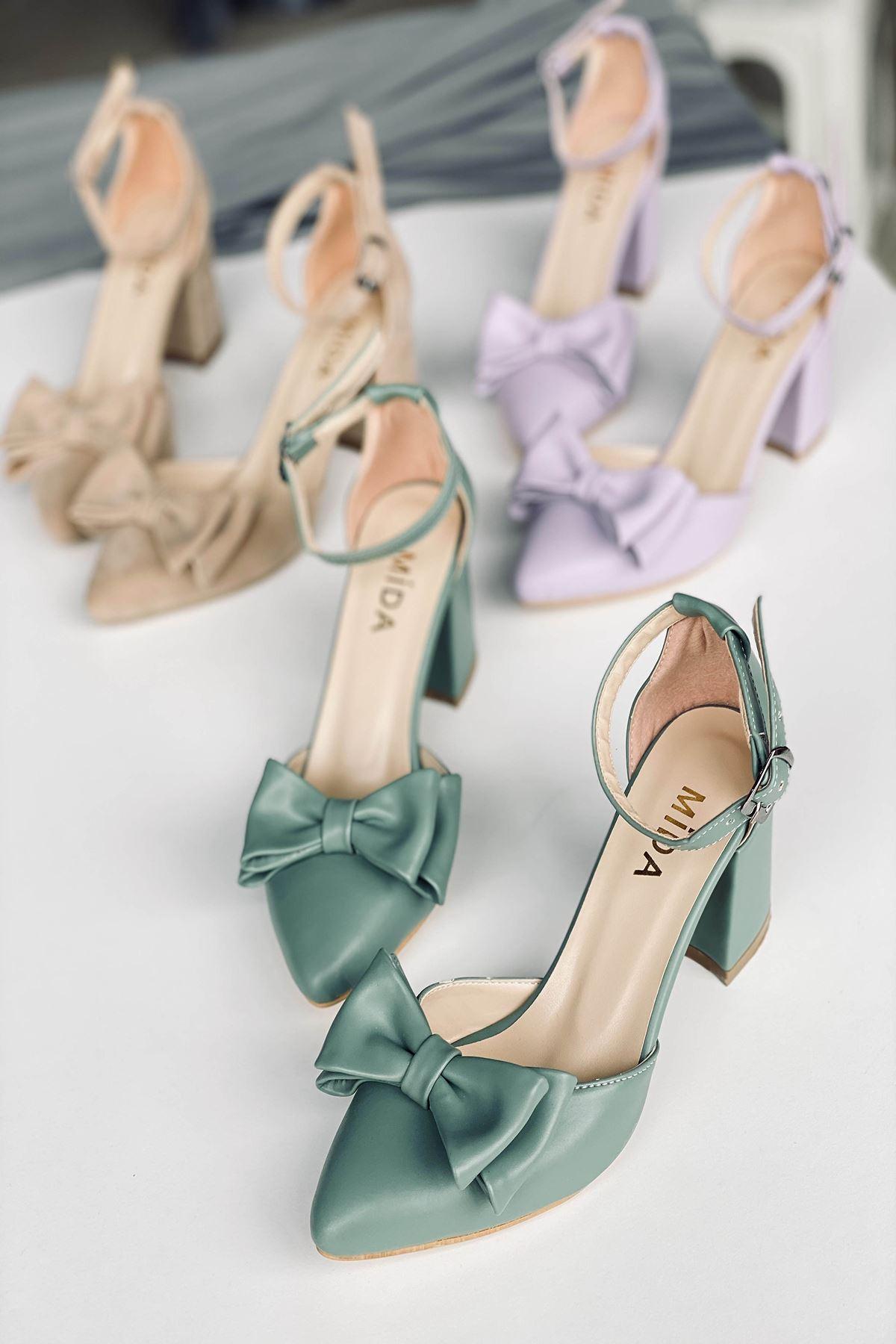 Y107 Mint Yeşili Deri Topuklu Ayakkabı