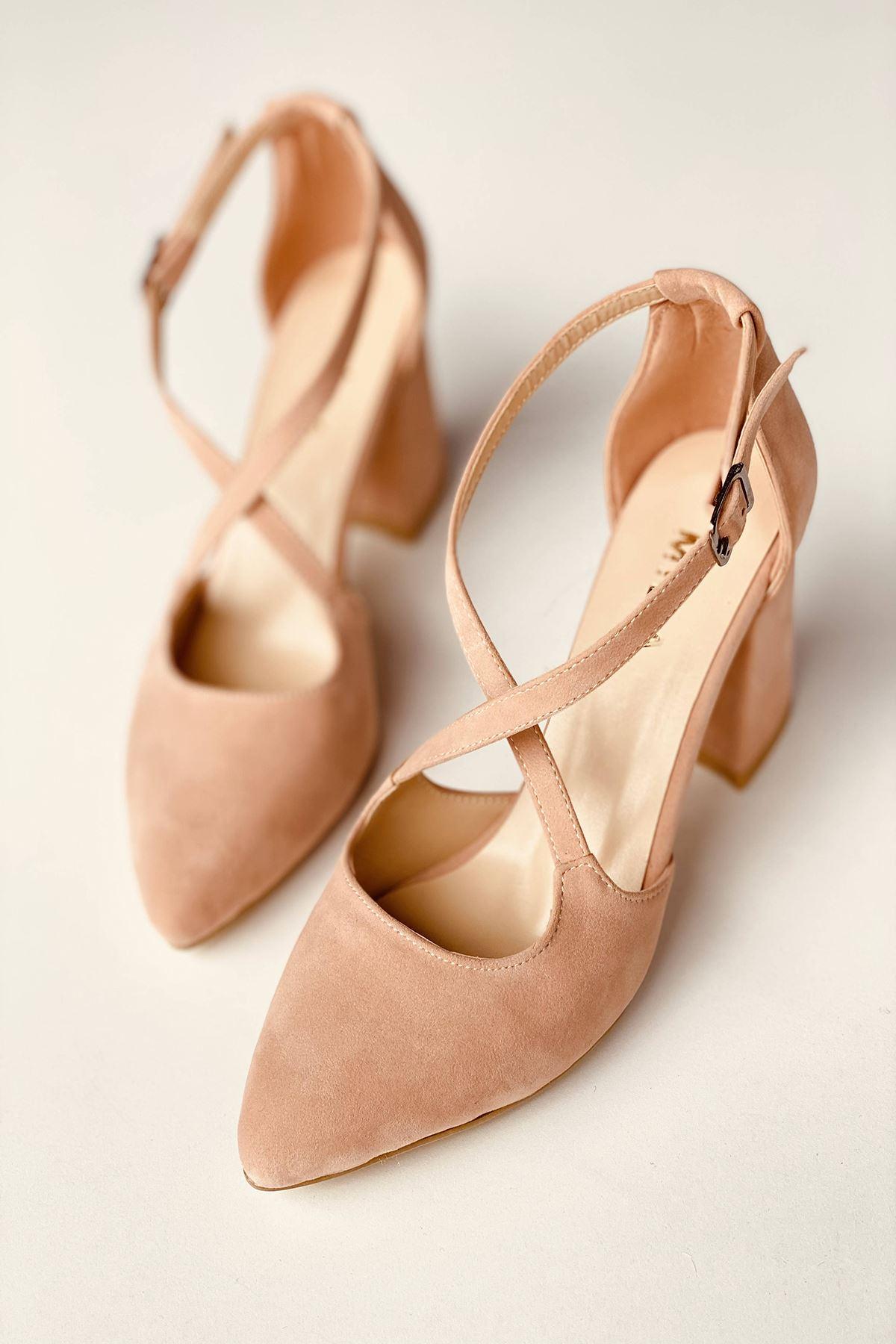Y113 Pudra Süet Topuklu Ayakkabı