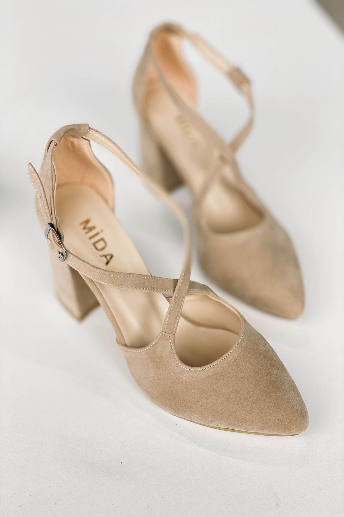 Y113 Ten Süet Topuklu Ayakkabı