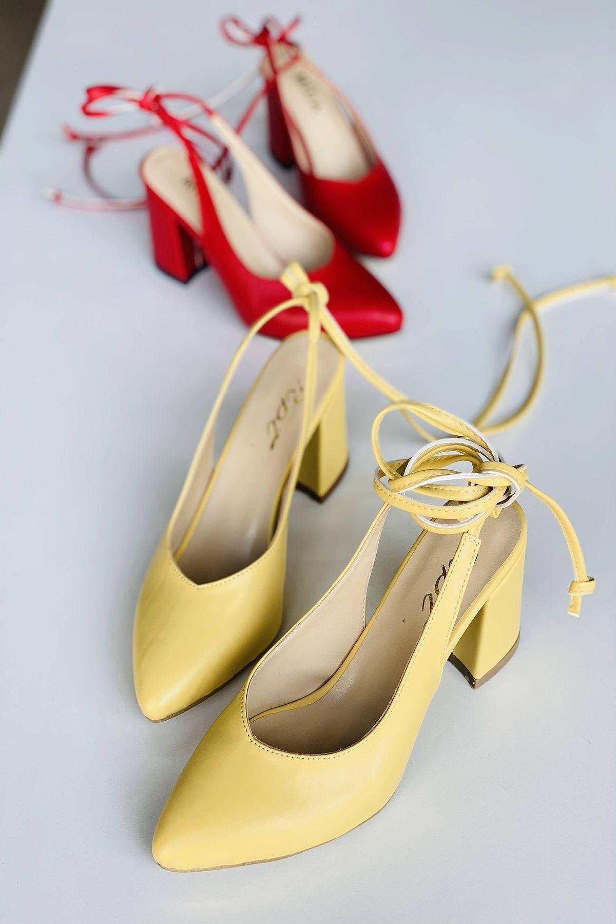 Y114 Limon Cilt Topuklu Ayakkabı