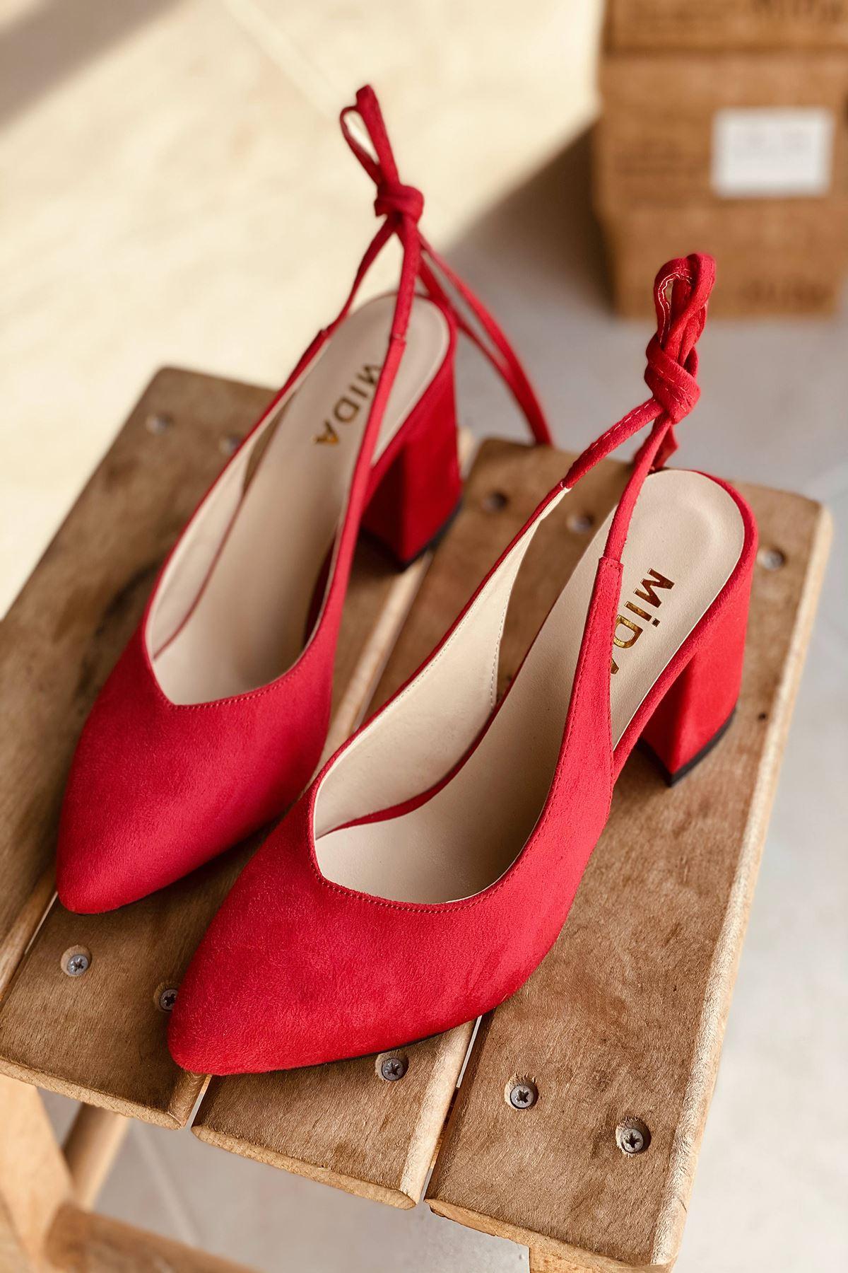 Y114 Kırmızı Süet Topuklu Ayakkabı