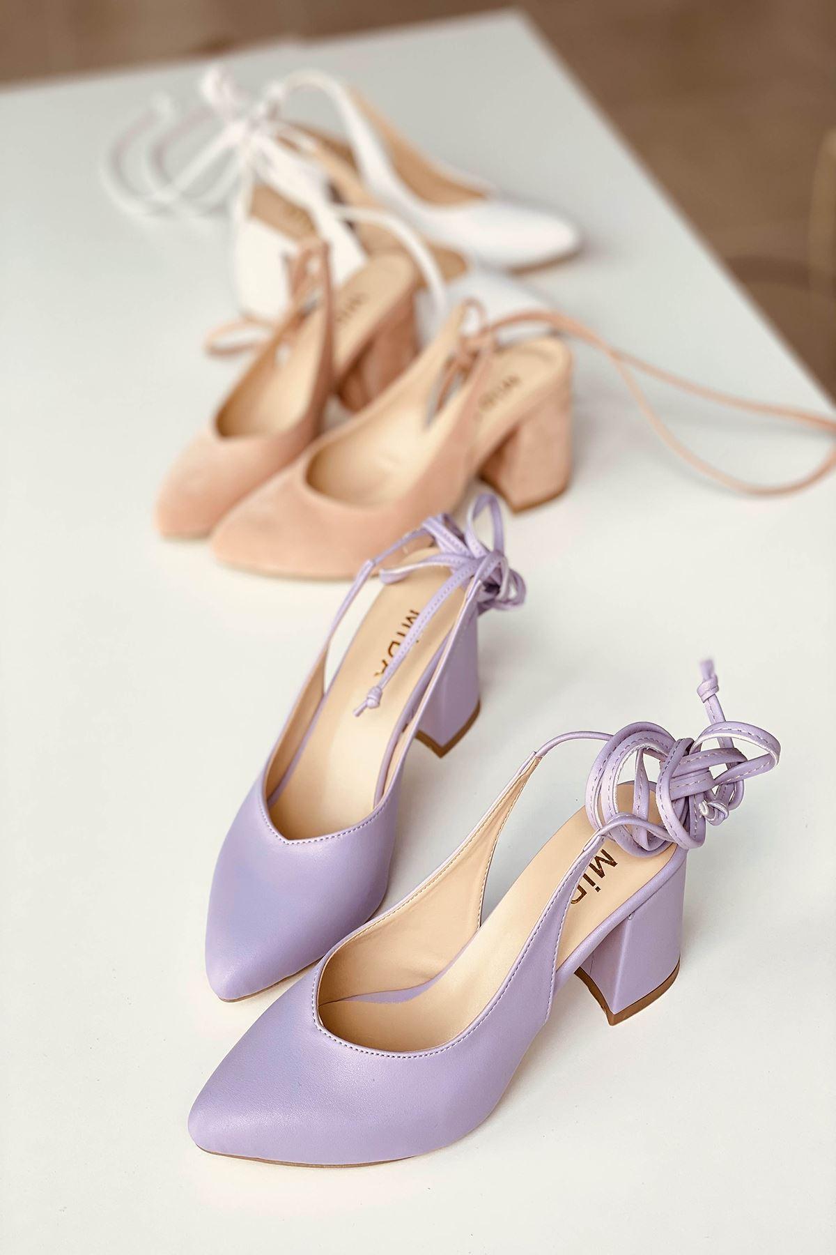 Y114 Lila Deri Topuklu Ayakkabı