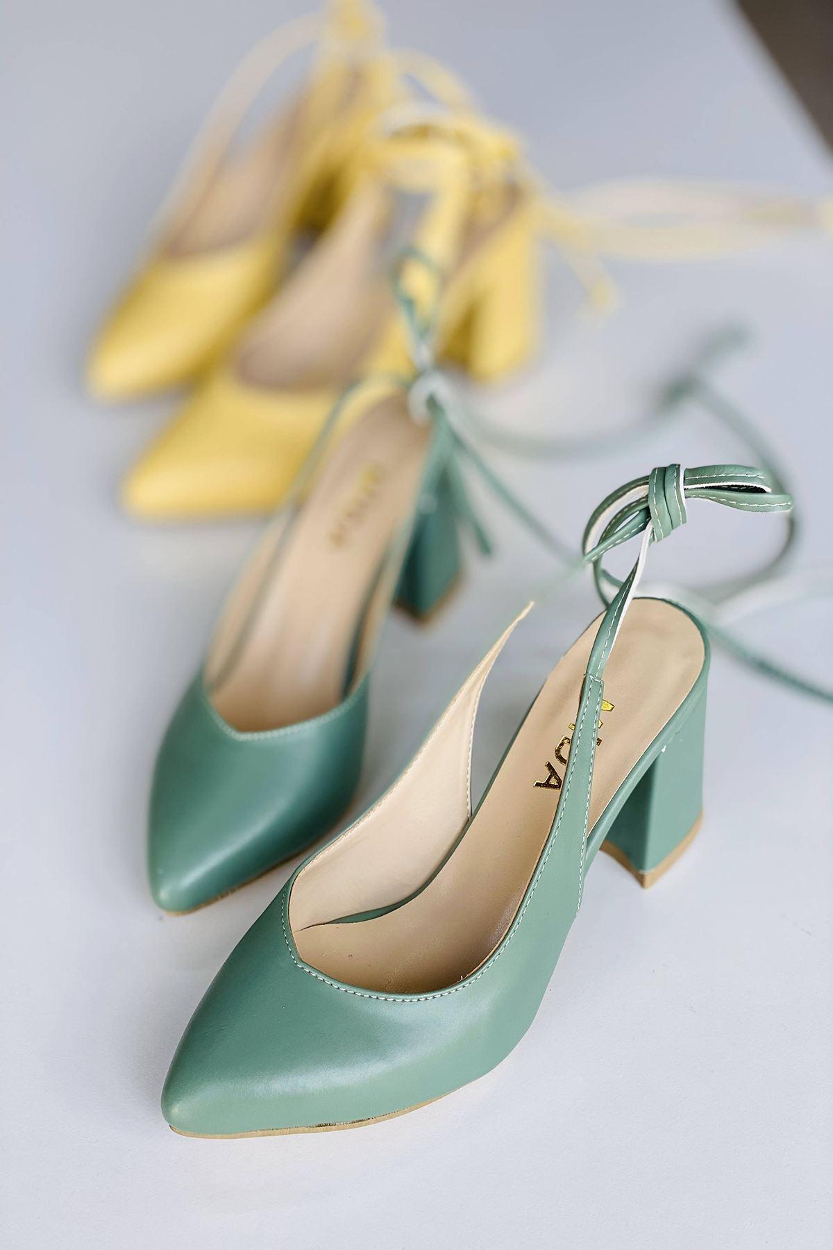 Y114 Mint Yeşili Deri Topuklu Ayakkabı