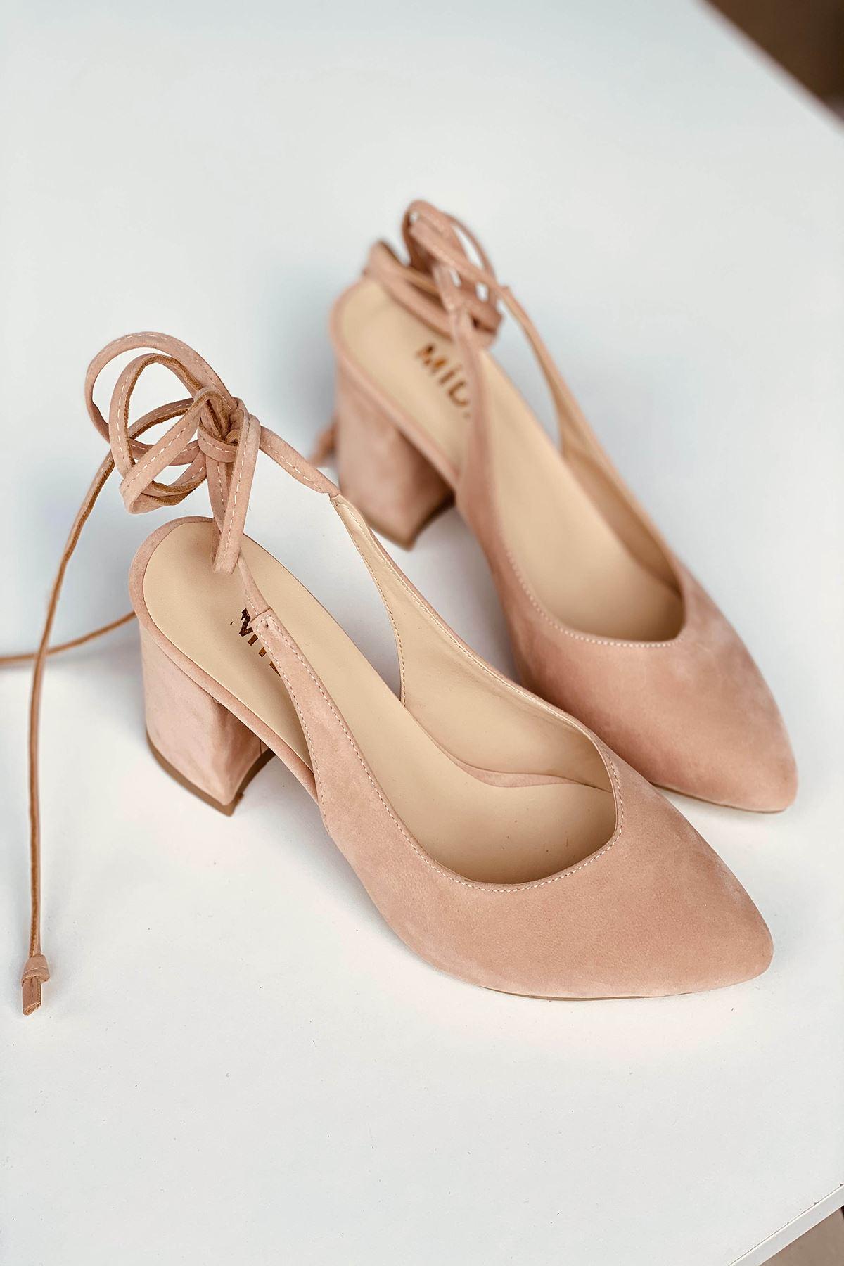 Y114 Pudra Süet Topuklu Ayakkabı