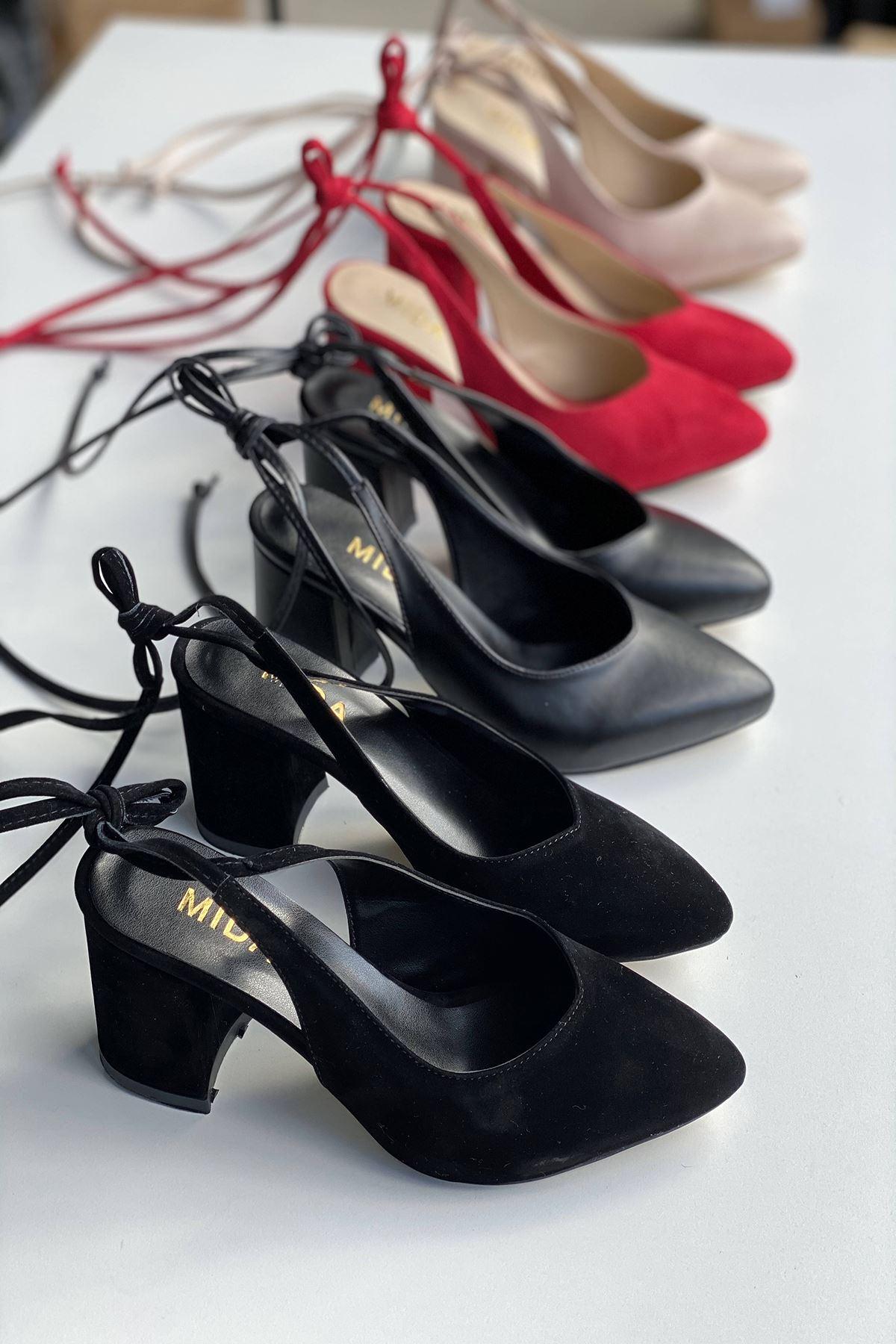 Y114 Siyah Süet Topuklu Ayakkabı