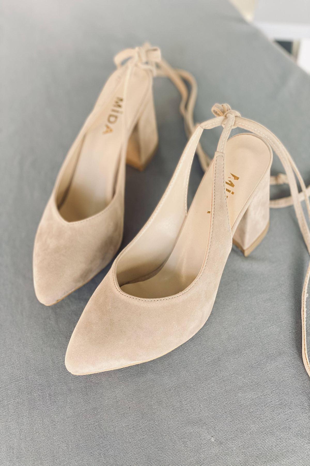 Y114 Ten Süet Topuklu Ayakkabı