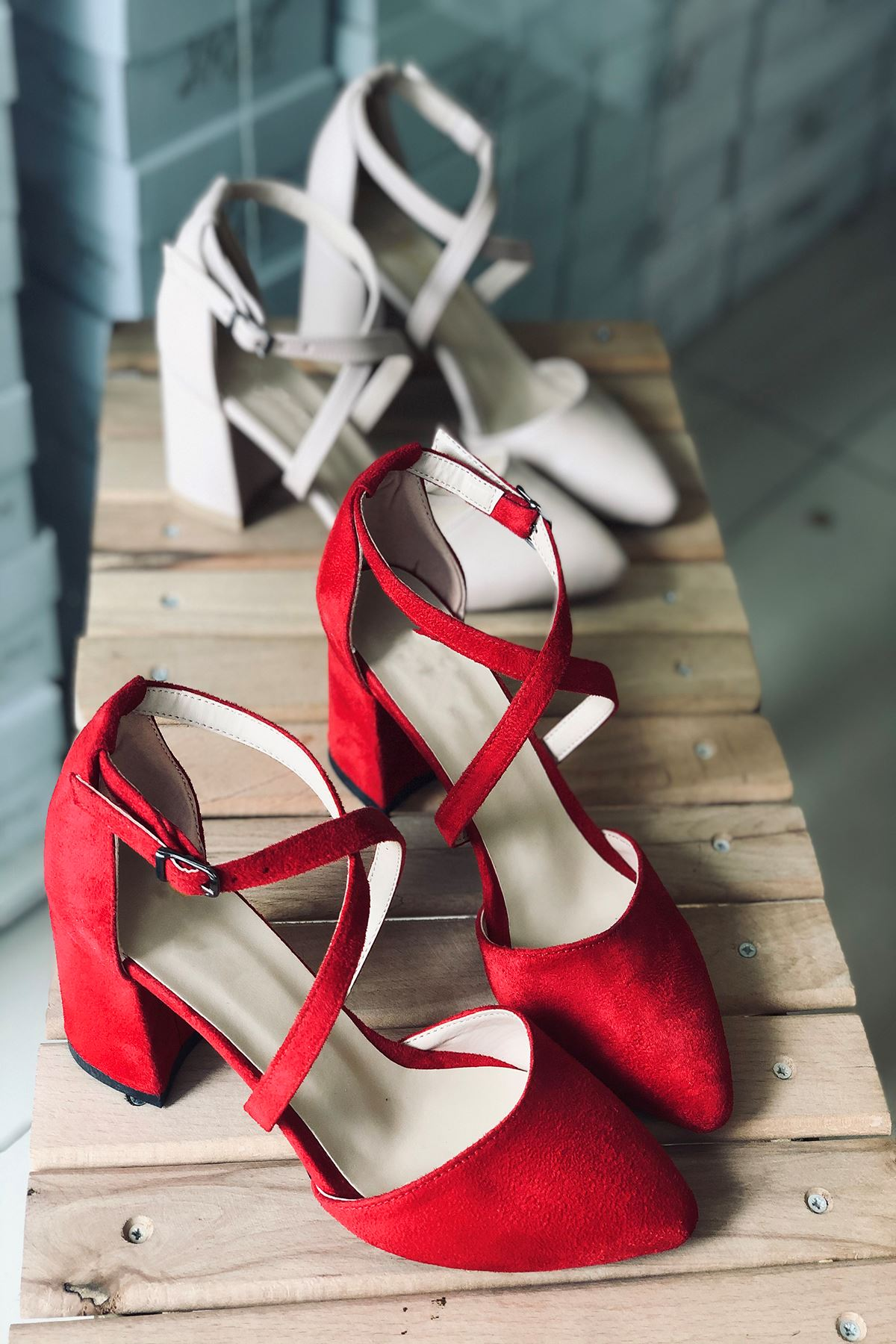 Y115 Kırmızı Süet Topuklu Ayakkabı