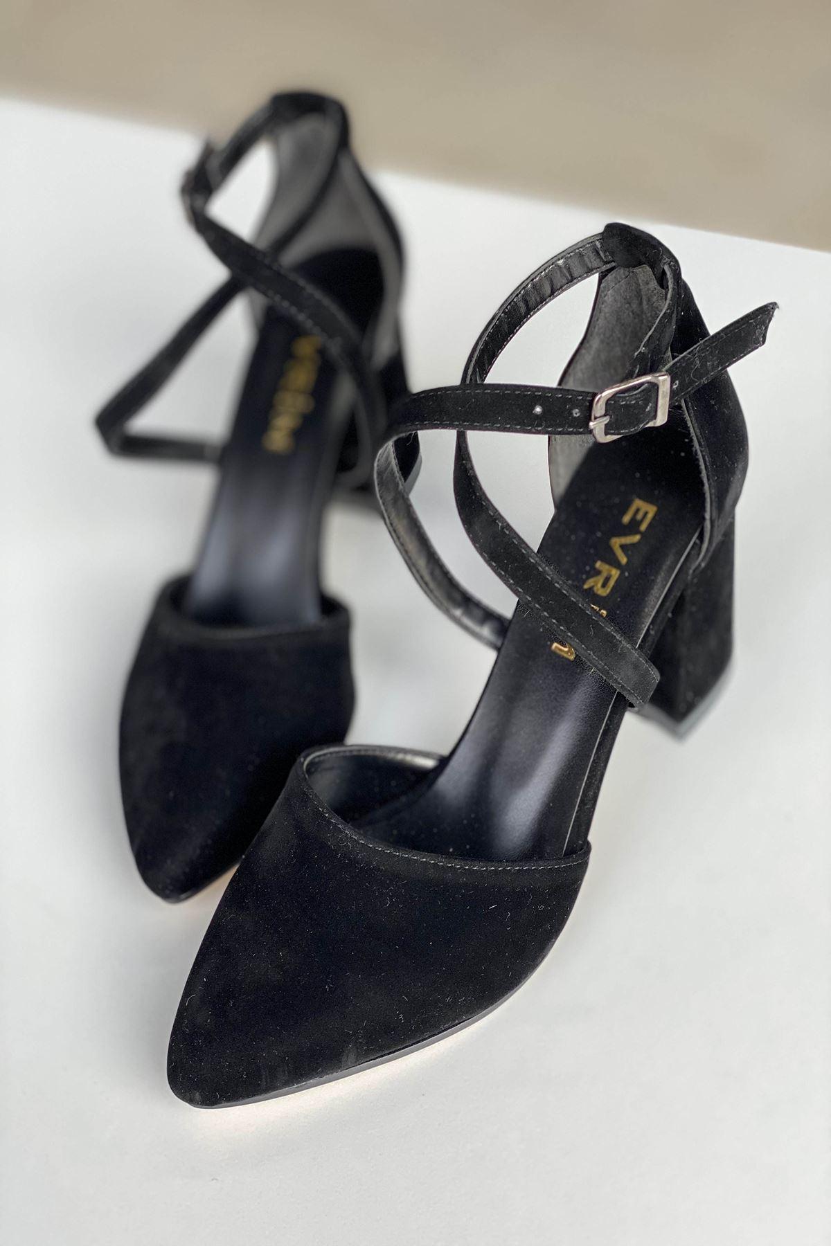 Y115 Siyah Süet Topuklu Ayakkabı