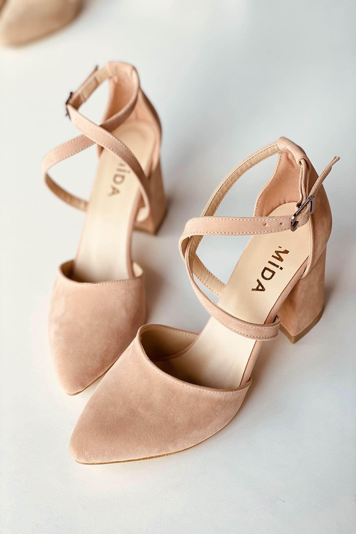 Y115 Pudra Süet Topuklu Ayakkabı