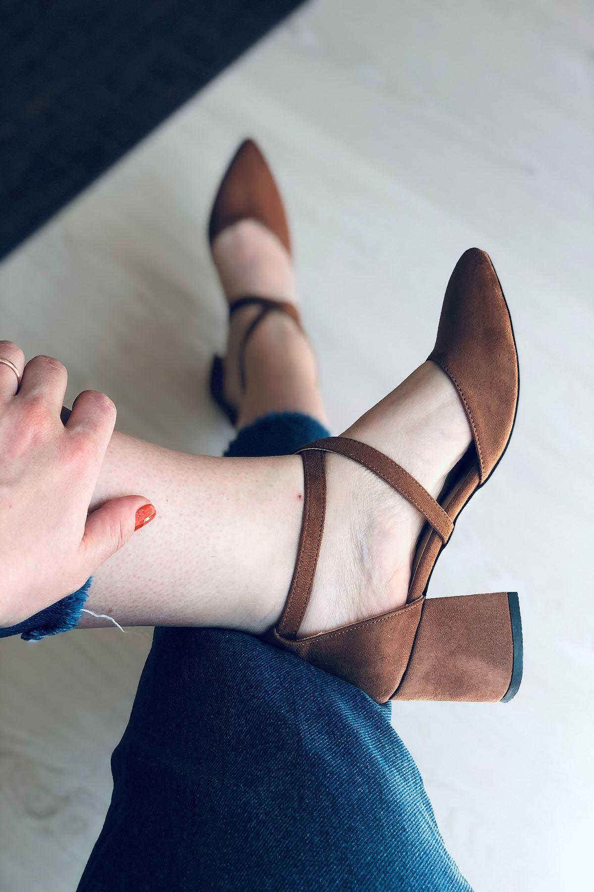 Y115 Taba Süet Topuklu Ayakkabı