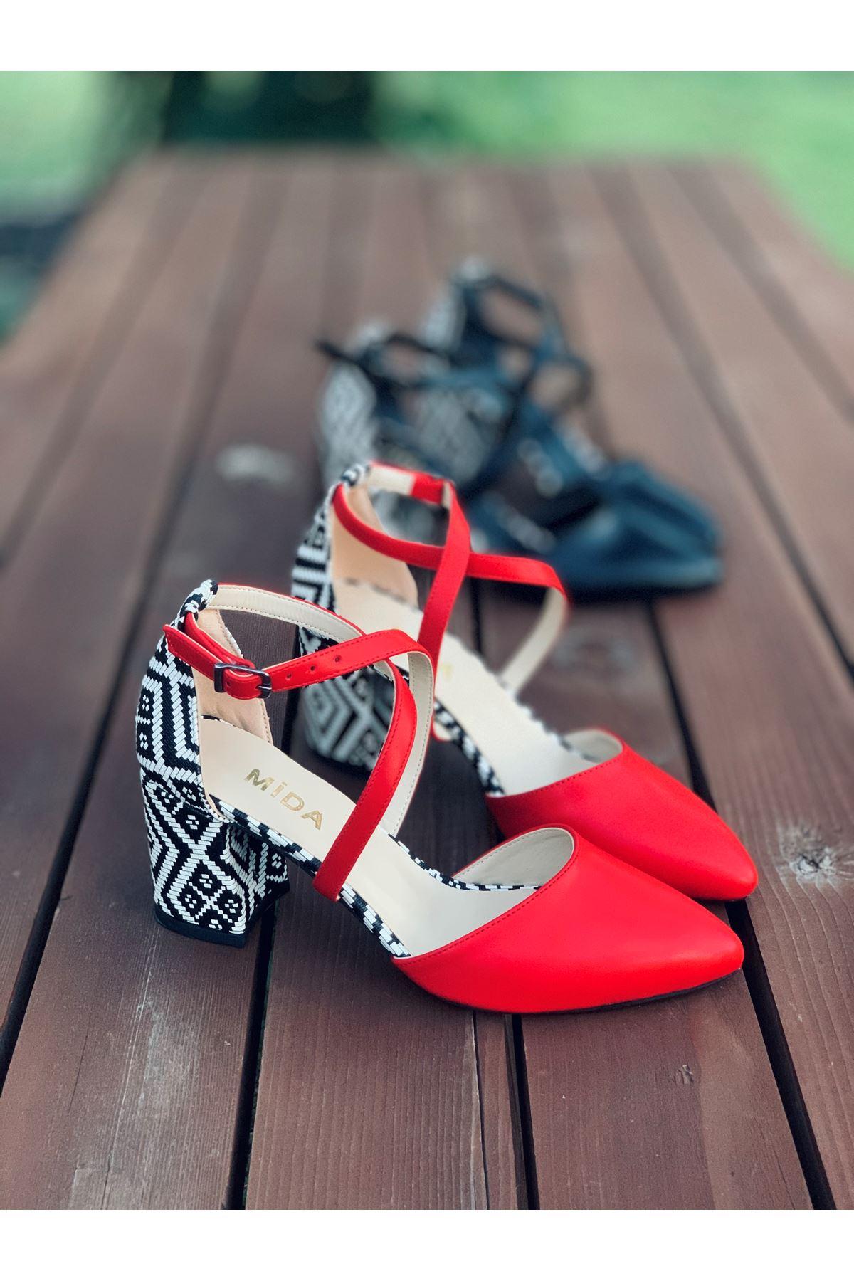 Y116 Kırmızı Garni Deri Topuklu Ayakkabı