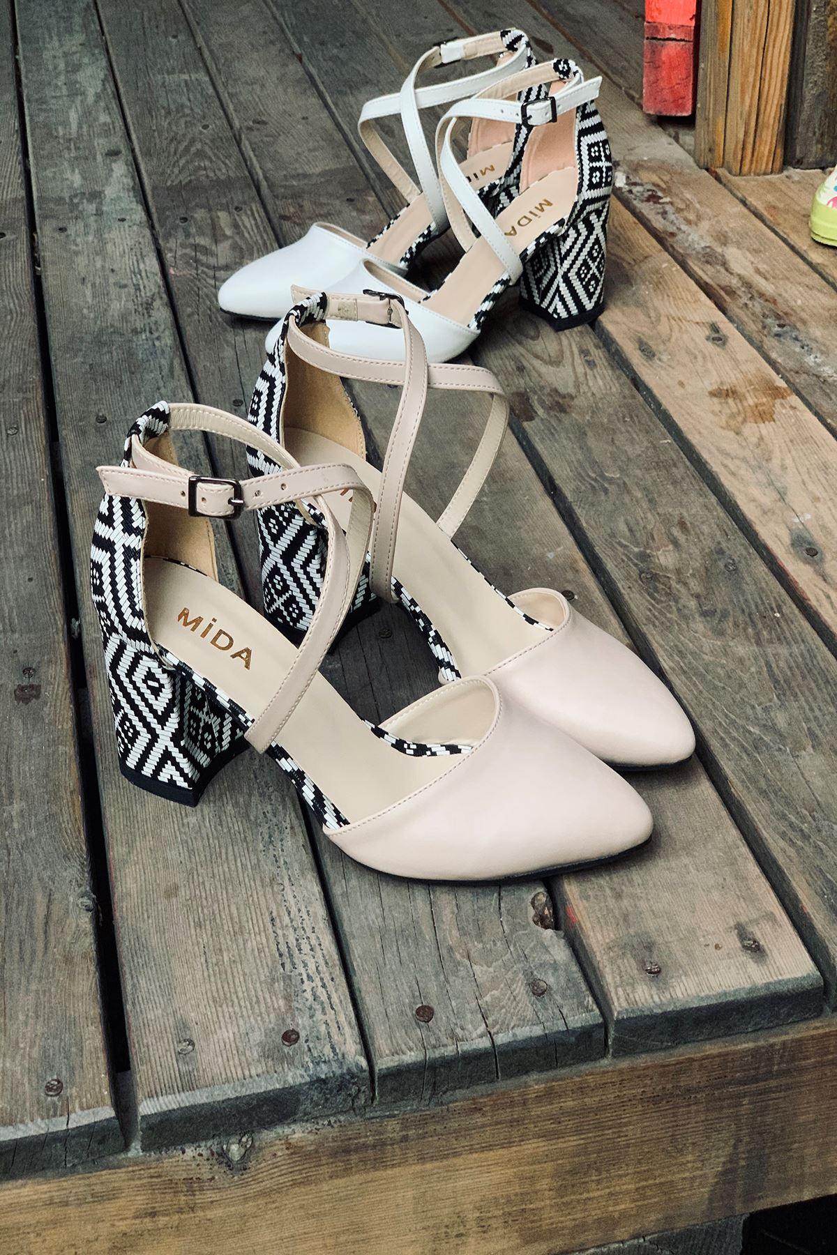 Y116 Ten Garni Deri Topuklu Ayakkabı