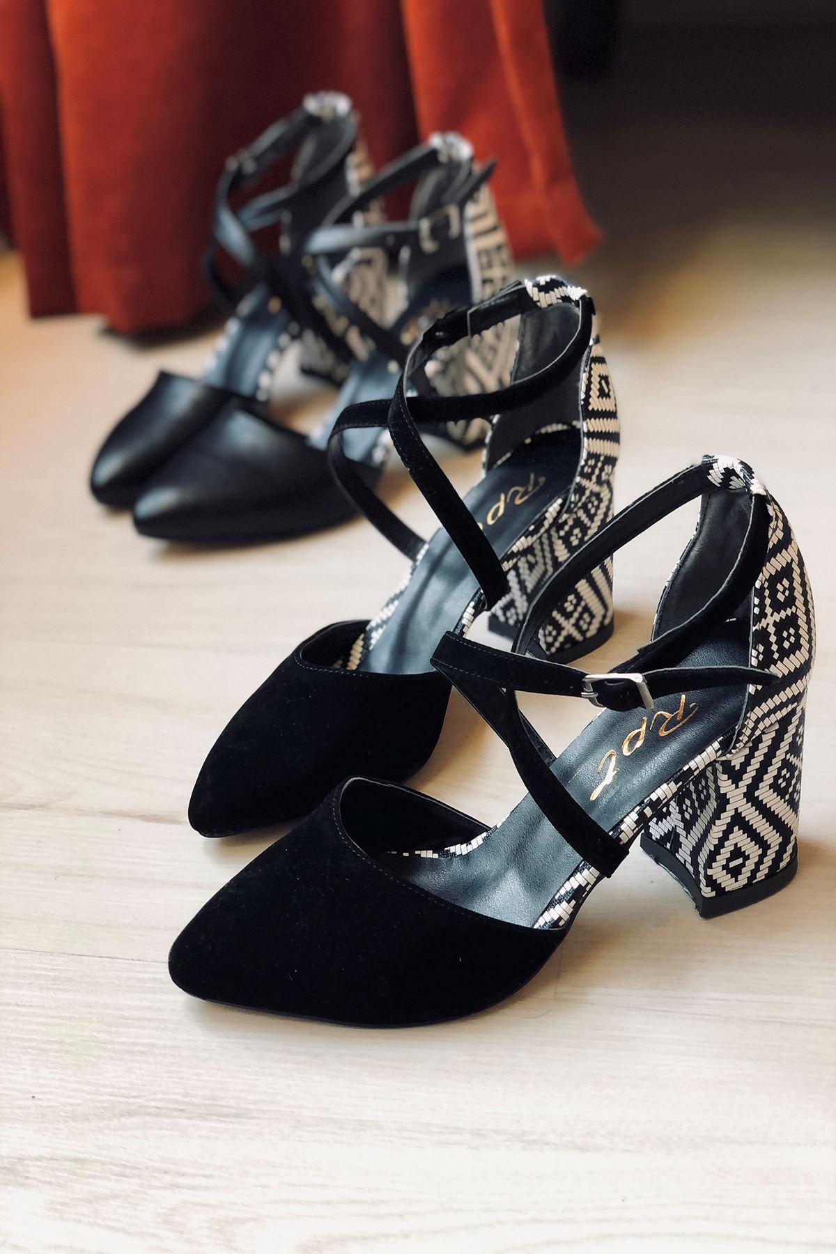 Y116 Siyah Garni Süet Topuklu Ayakkabı