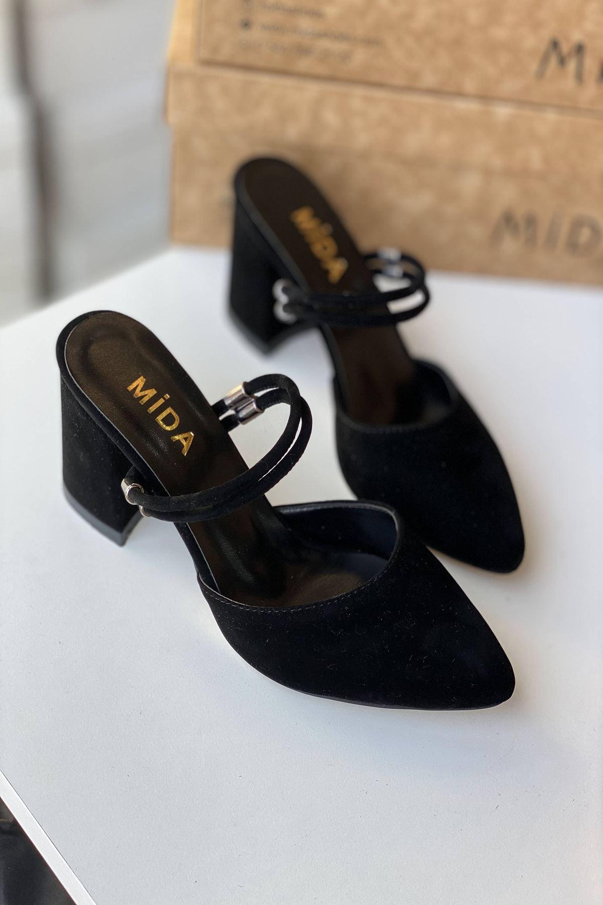 Y119 Siyah Süet Topuklu Ayakkabı