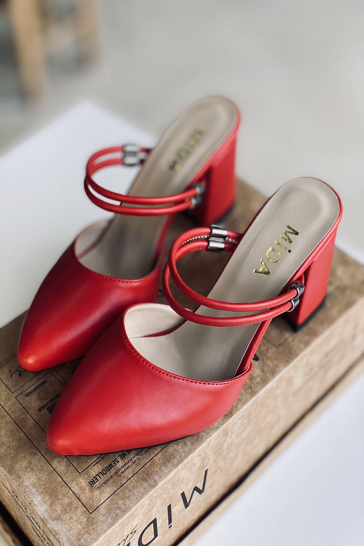 Y119 Kırmızı Deri Topuklu Ayakkabı