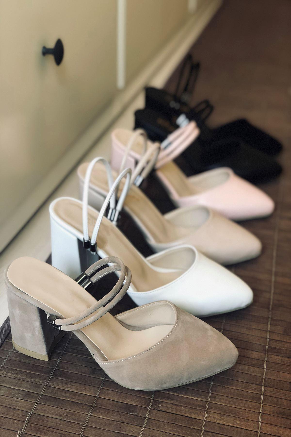 Y119 Ten Süet Topuklu Ayakkabı