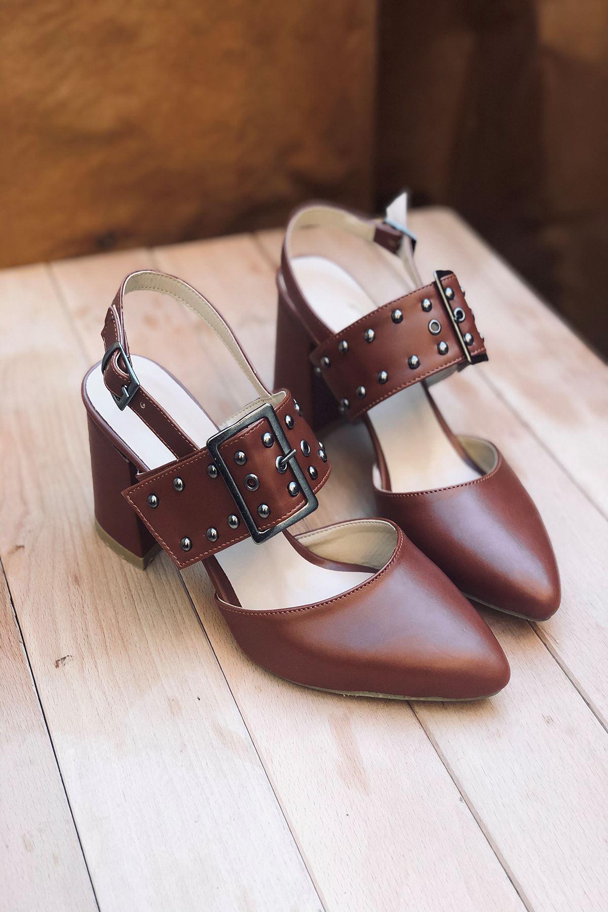 Y120 Taba Deri Topuklu Ayakkabı