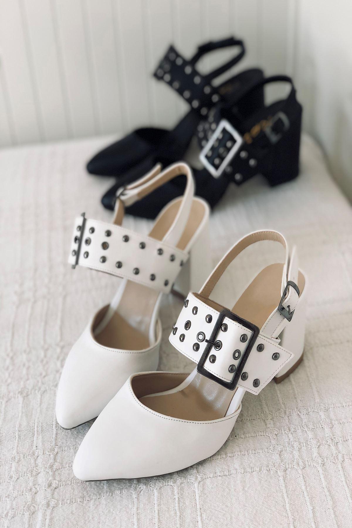Y120 Beyaz Deri Topuklu Ayakkabı