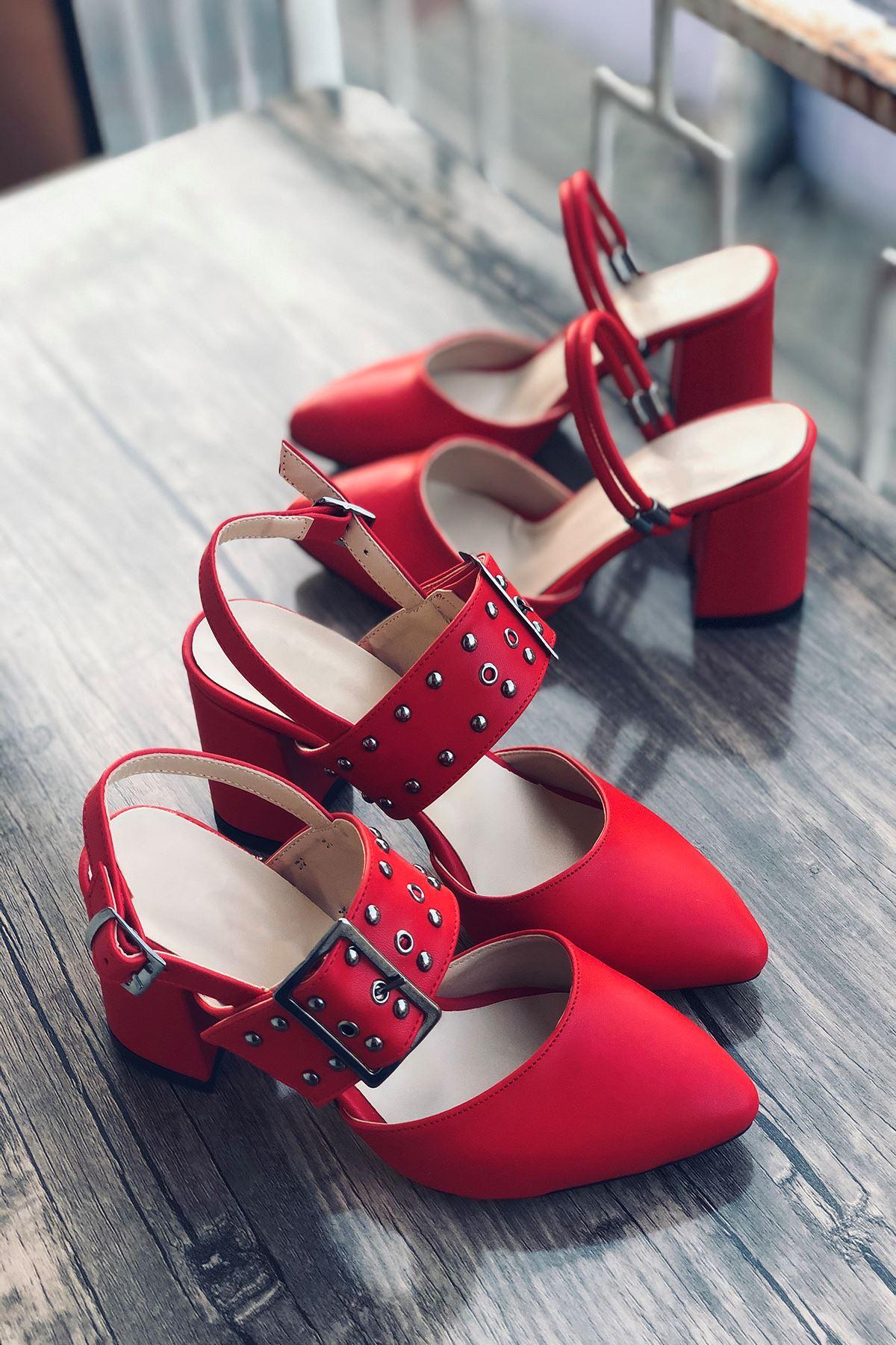 Y120 Kırmızı Deri Topuklu Ayakkabı