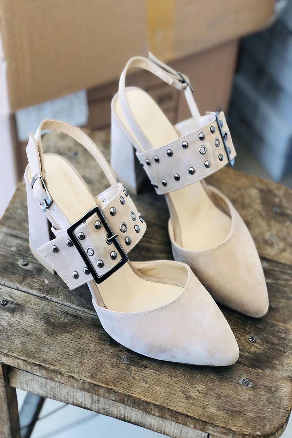 Y120 Ten Süet Topuklu Ayakkabı