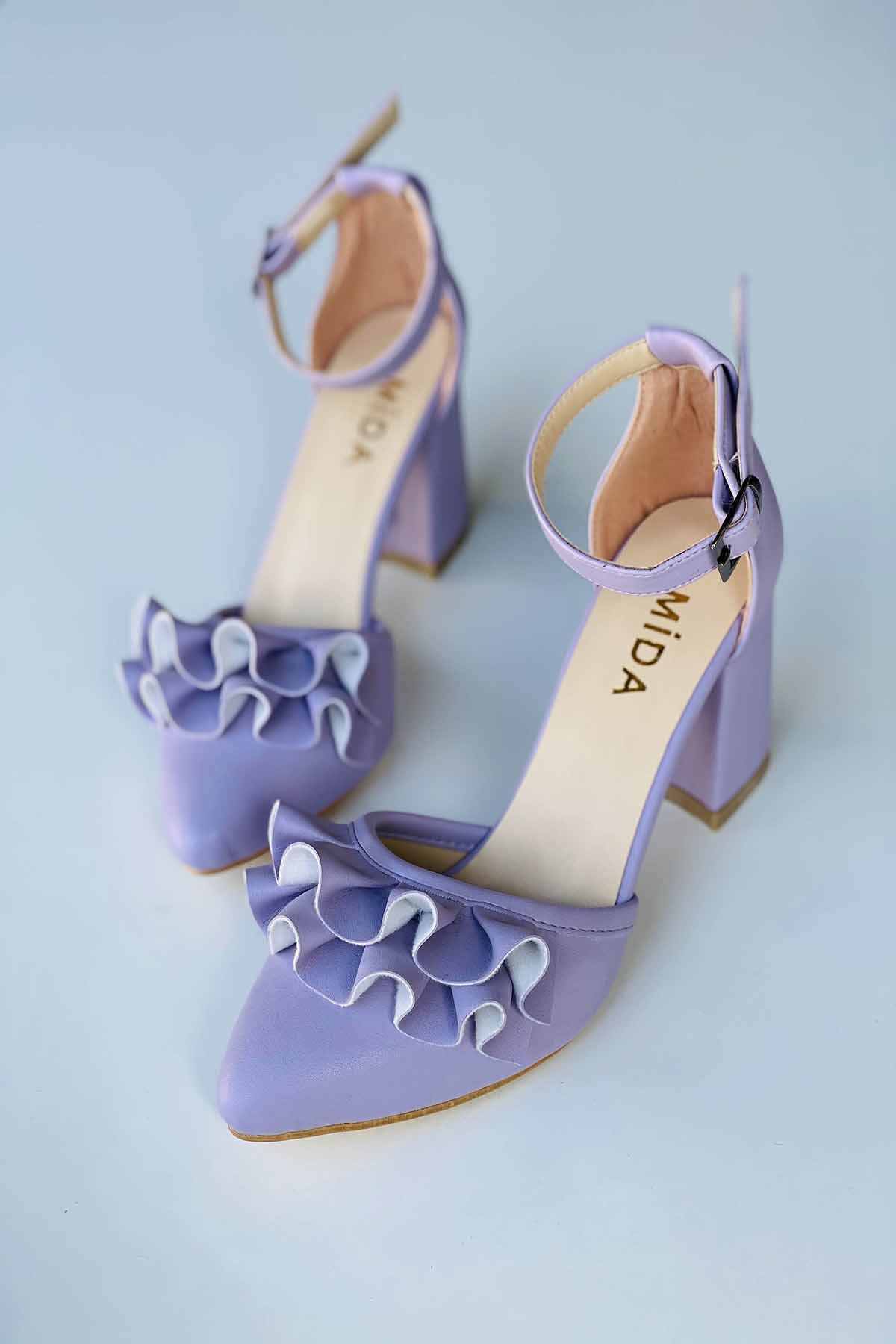 Y122 Lila Deri Topuklu Ayakkabı