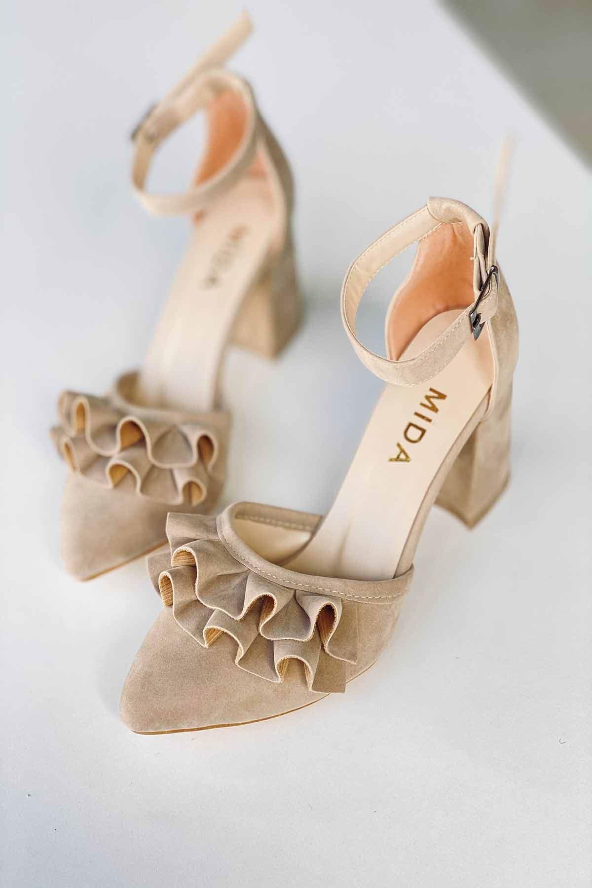 Y122 Ten Süet Topuklu Ayakkabı
