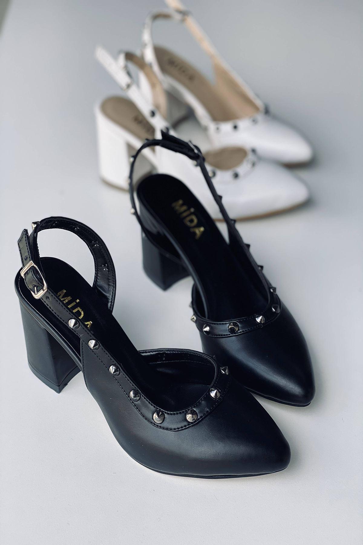 Y124 Siyah Deri Topuklu Ayakkabı