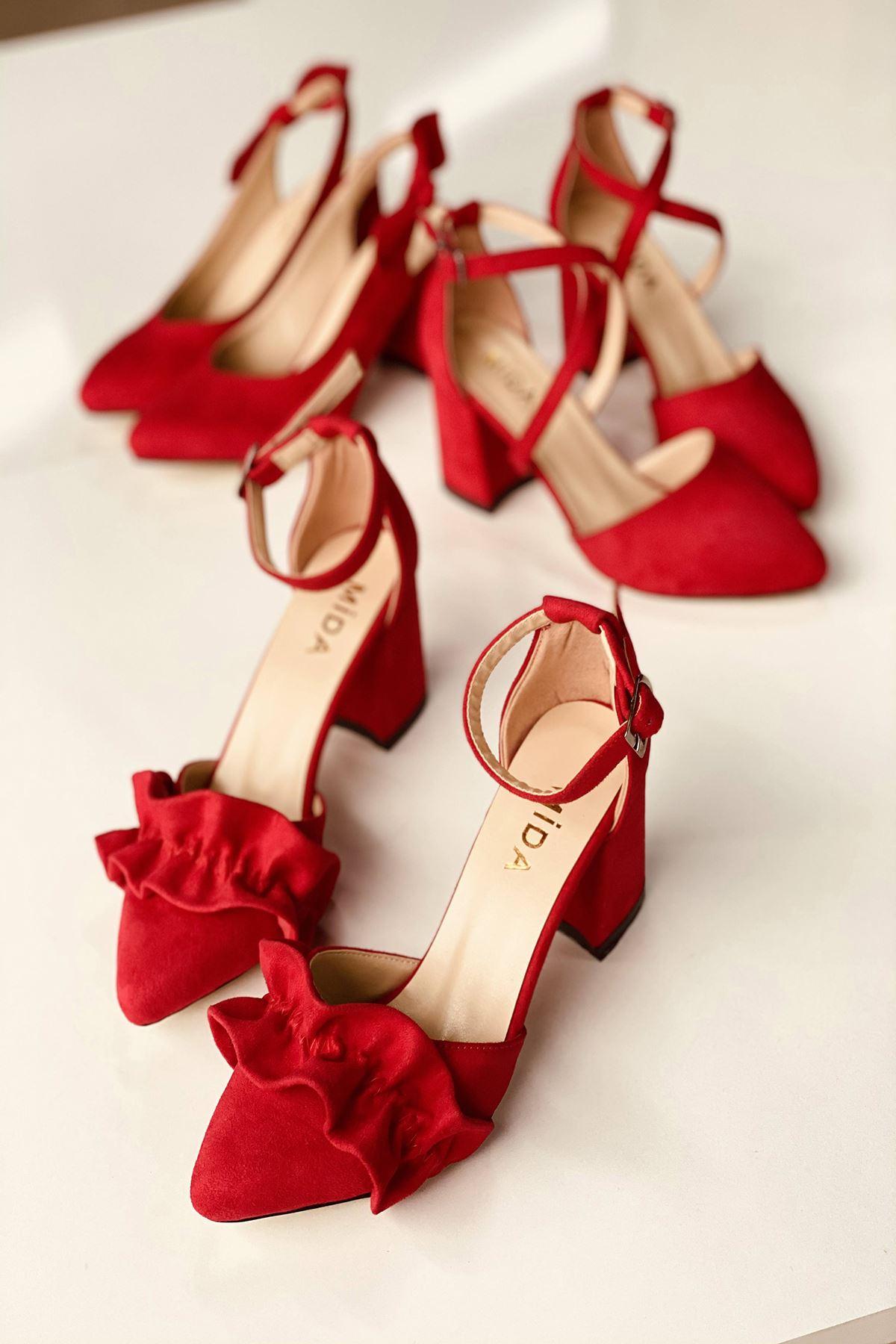 Y126 Kırmızı Süet Topuklu Ayakkabı
