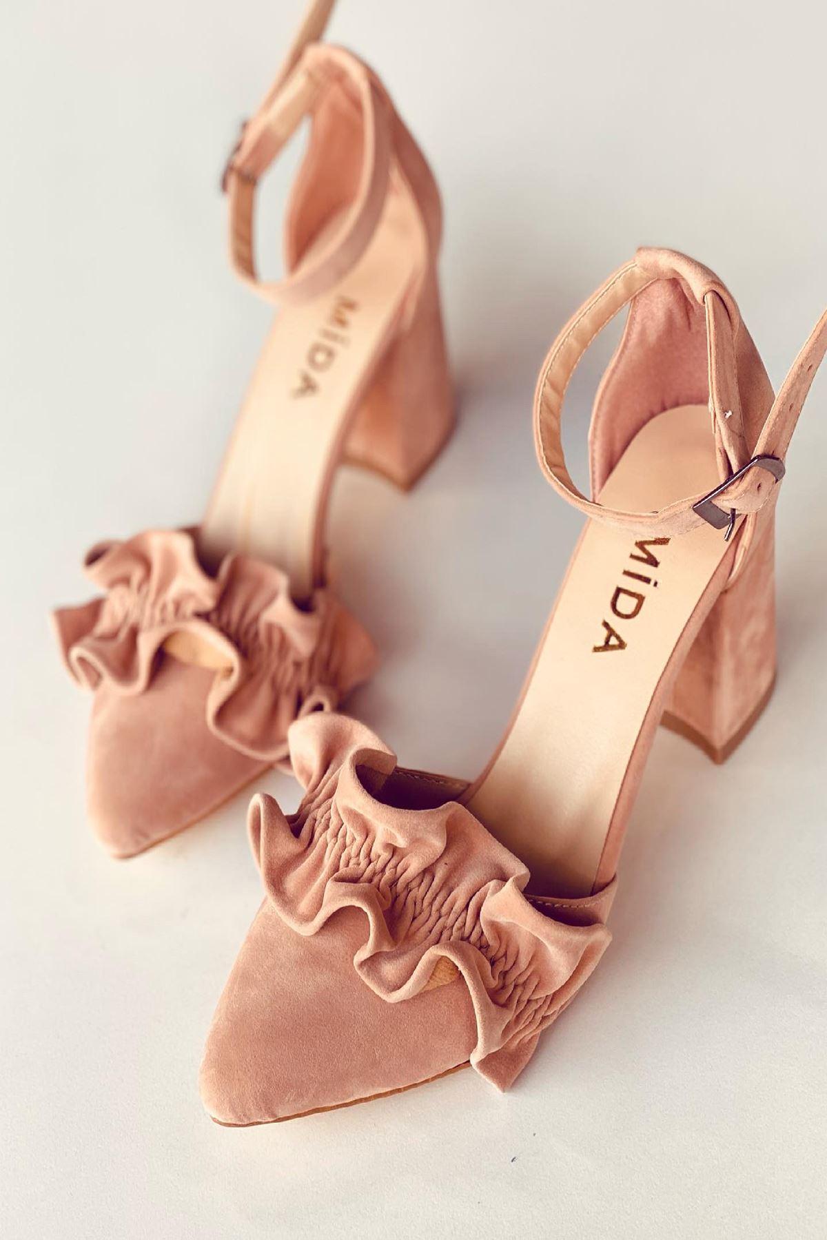 Y126 Pudra Süet Topuklu Ayakkabı