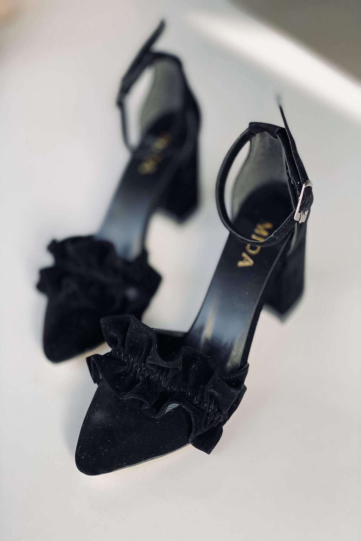 Y126 Siyah Süet Topuklu Ayakkabı