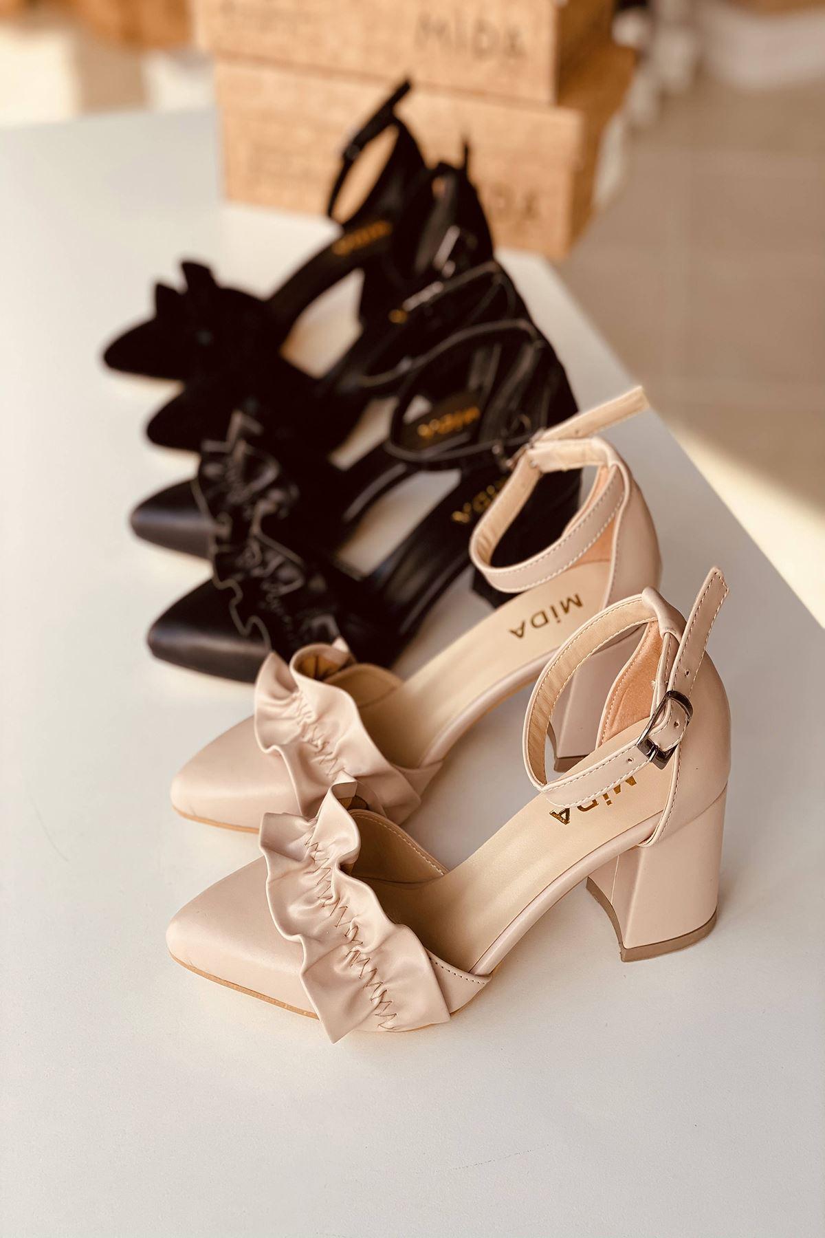 Y126 Ten Deri Topuklu Ayakkabı